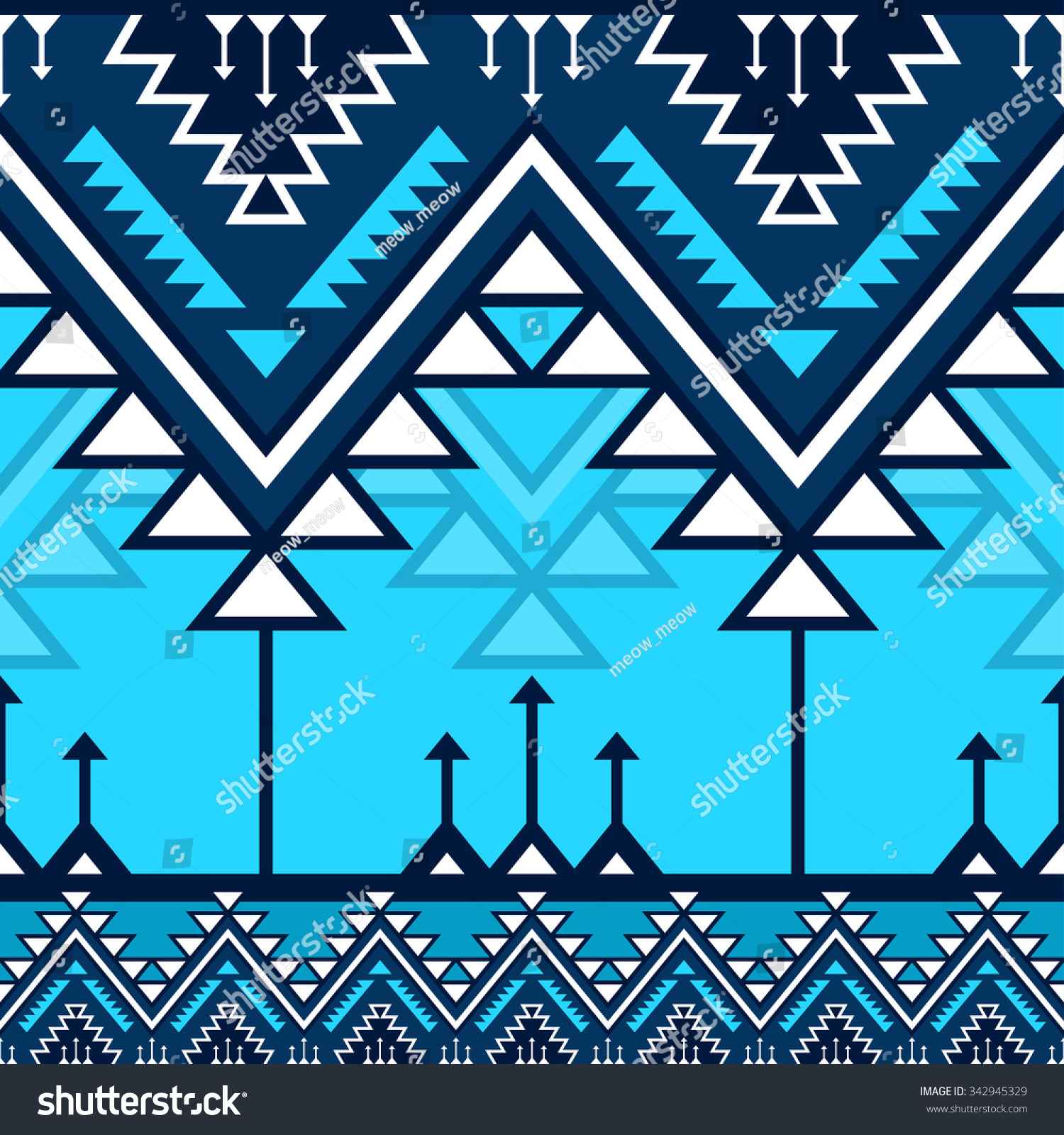 Blue Tribal Wallpapers: Blue Tribal Navajo Vector Seamless Pattern Stock Vector