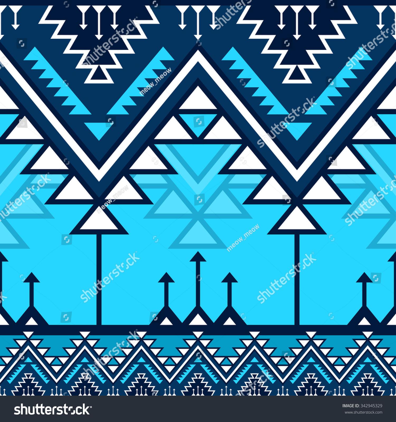 Blue Tribal Navajo Vector Seamless Pattern Stock Vector ...