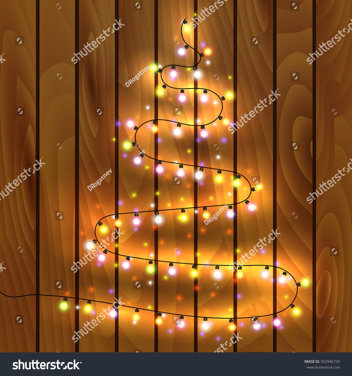 christmas tree made christmas lights vector stock vector 342946739 shutterstock. Black Bedroom Furniture Sets. Home Design Ideas