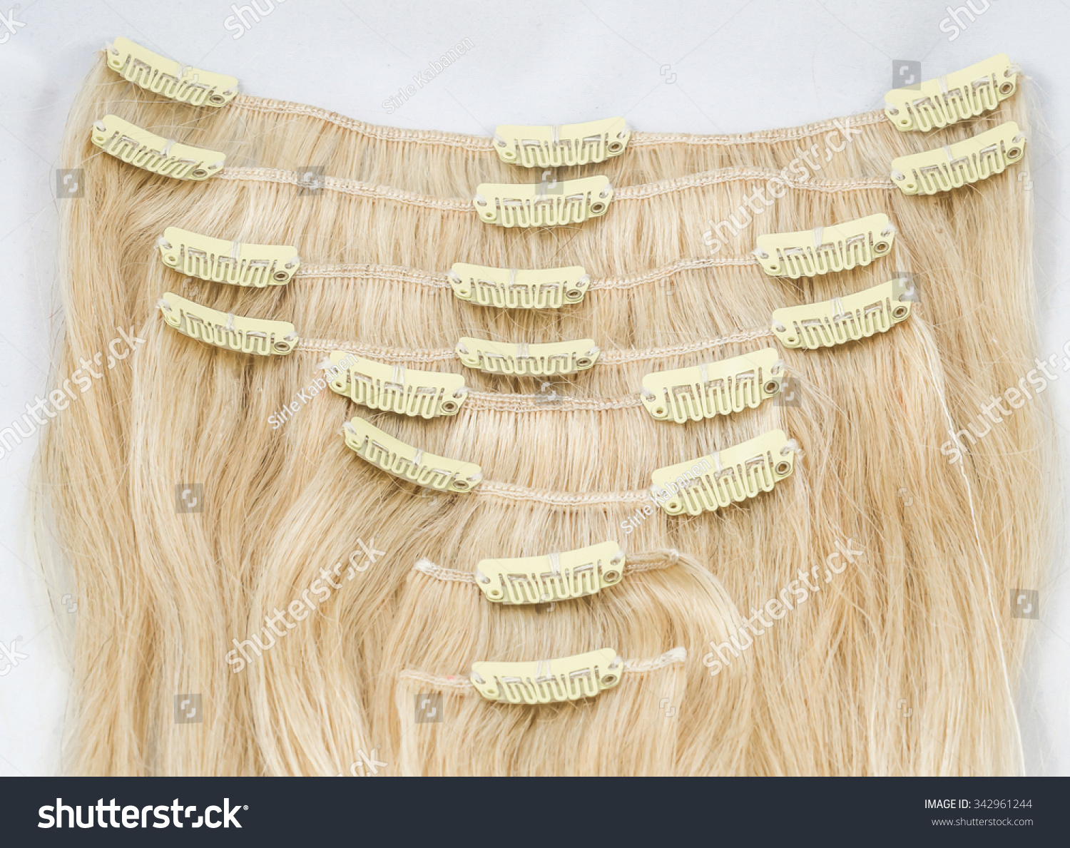 Blond Clip Hair Extension Closeup On Stock Photo Edit Now