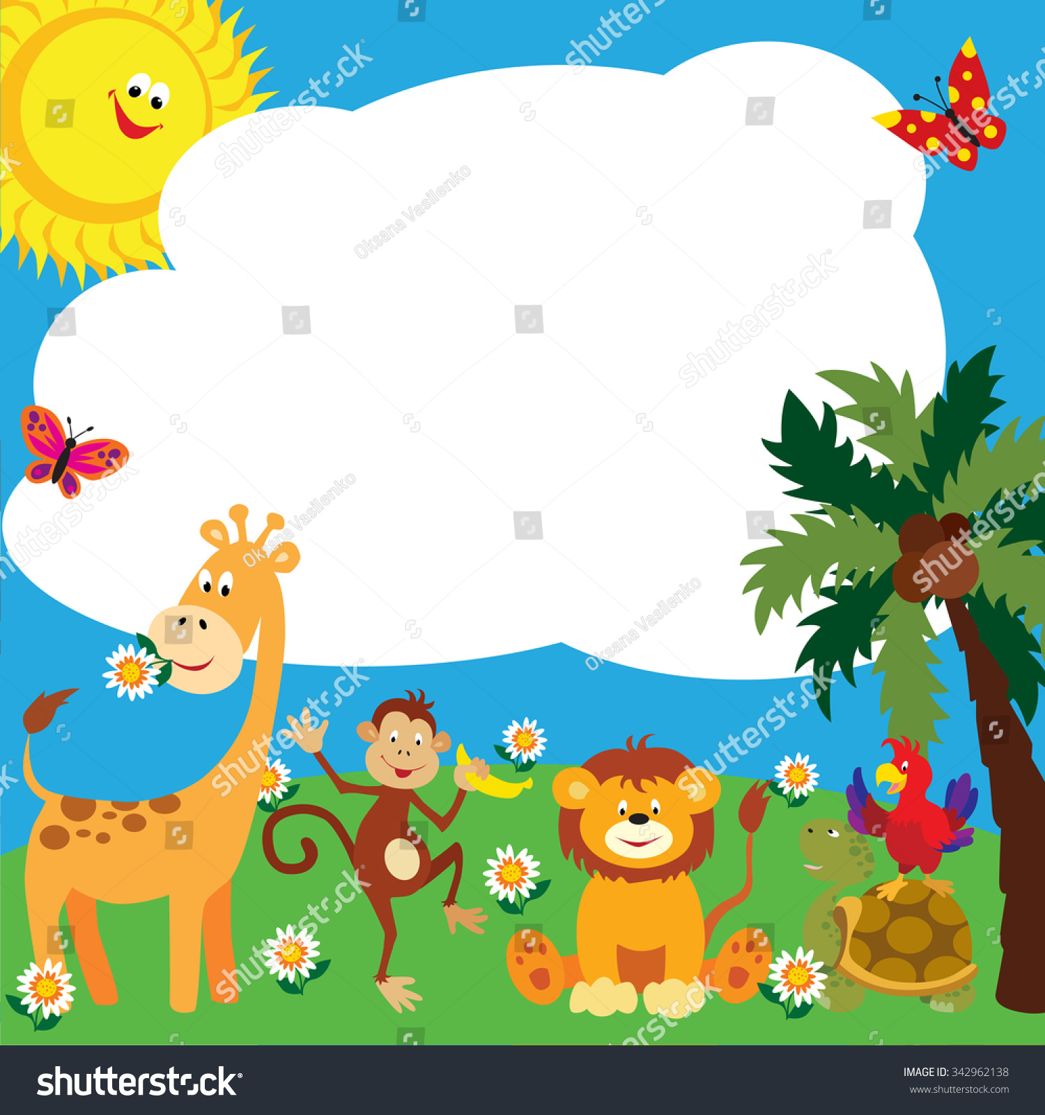 Royalty Free Cute Cartoon Animals Make A Colourful 342962138 Stock