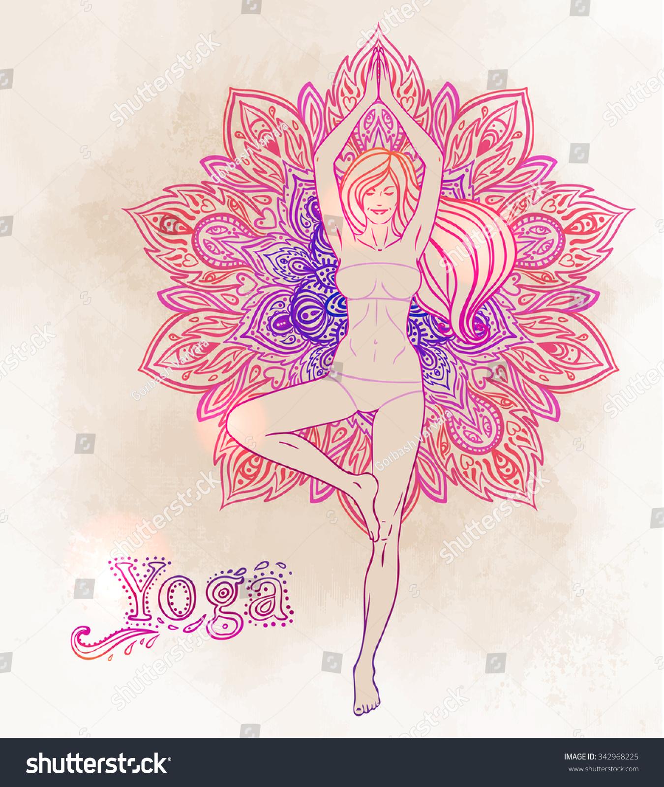 Young Pretty Girl Doing Yoga Vrikshasana Stock Vector (Royalty Free ...