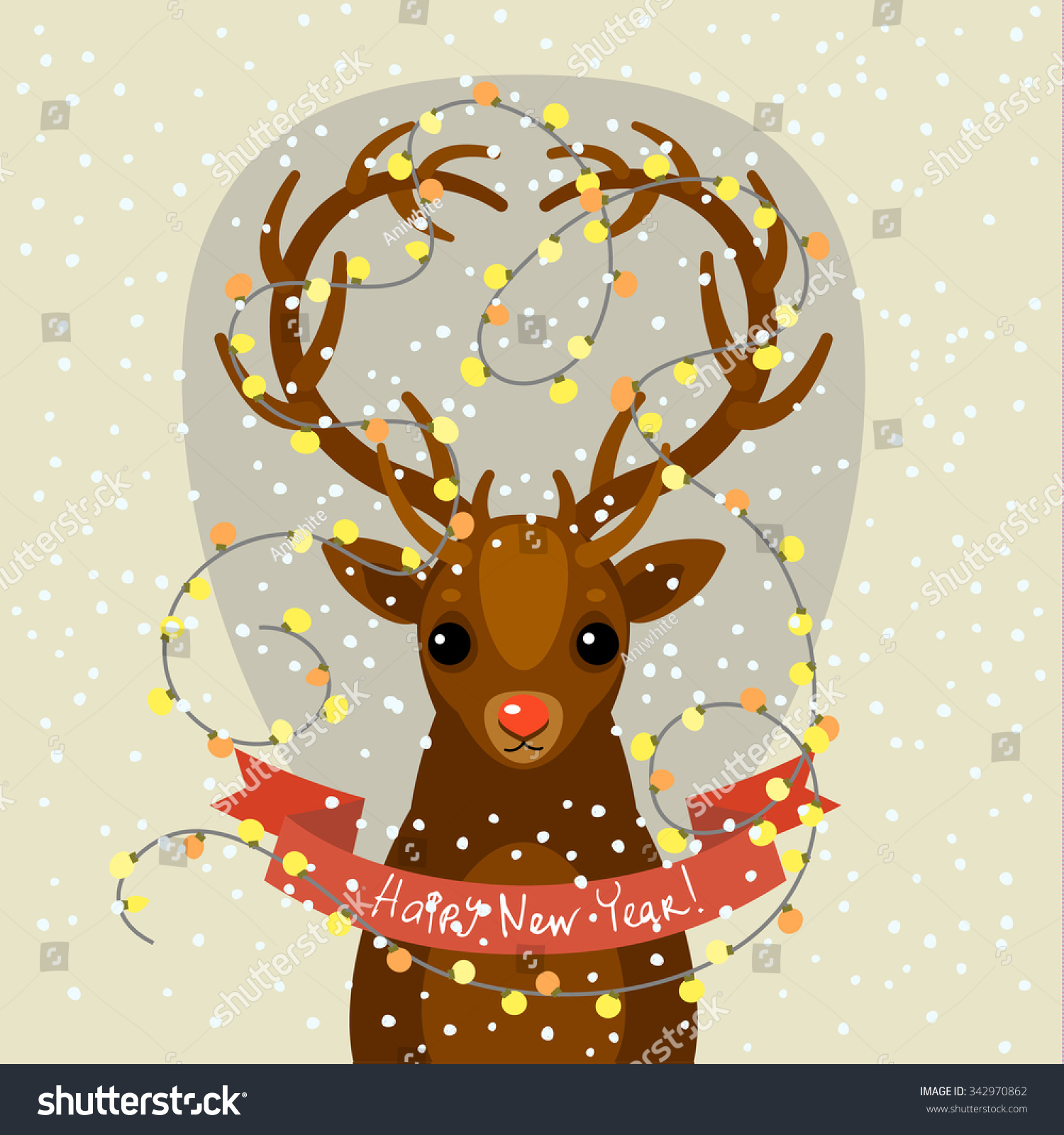 Holiday illustration cute cartoon deer lights stock vector holiday illustration with a cute cartoon deer with lights on the horns christmas card with kristyandbryce Gallery