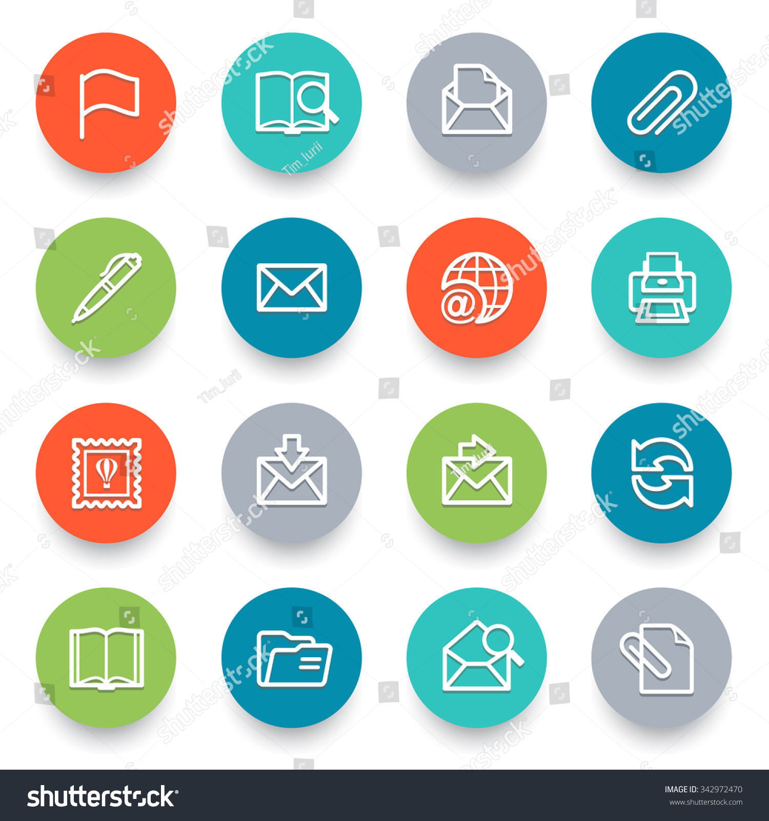 Email icons with color buttons Flat design