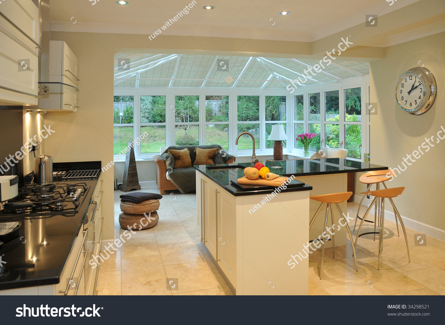 Kitchen Conservatory Interior Of A Modern Kitchen With Beyond A Conservatory And Garden