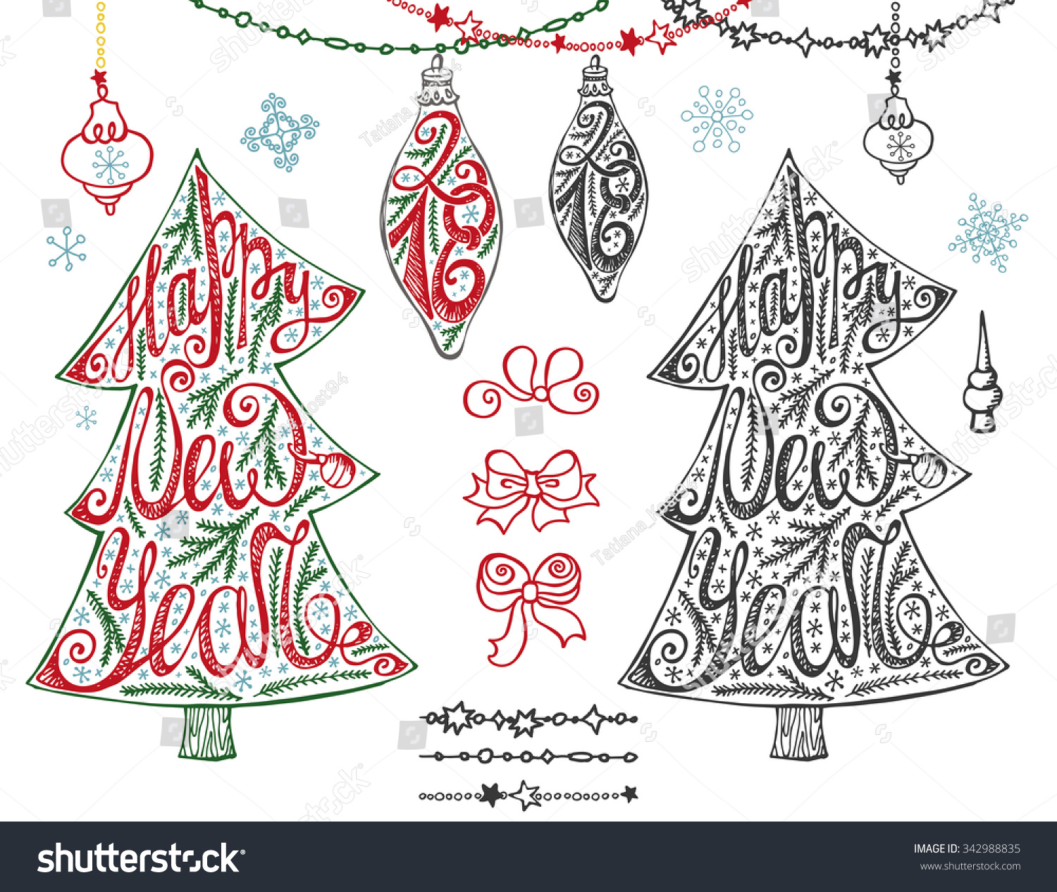 Christmas Tree New Year Lettering Hand Drawn Doodle Stock Vector ...