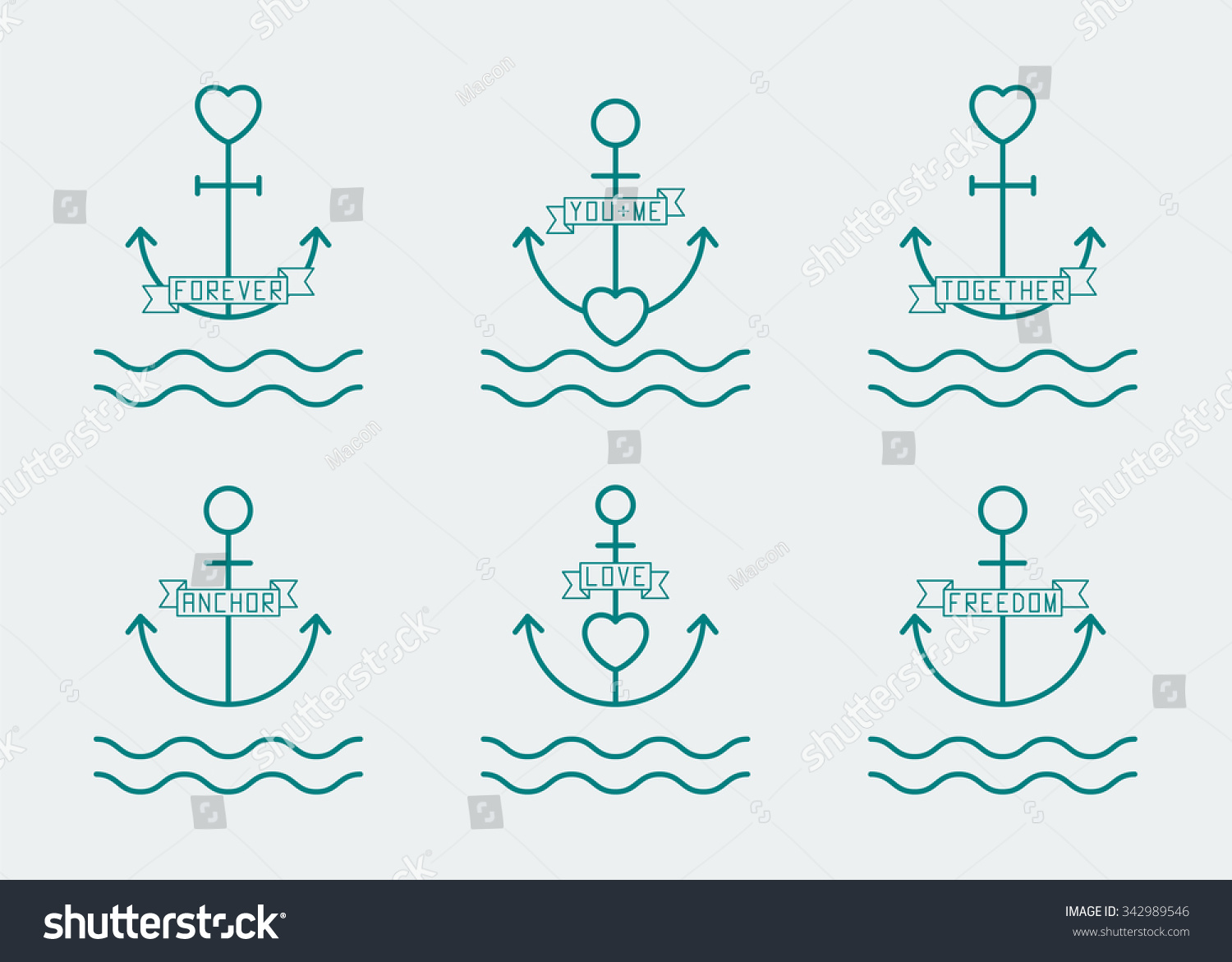 Anchor Heart Thin Line Icon Set Stock Vector Royalty Free
