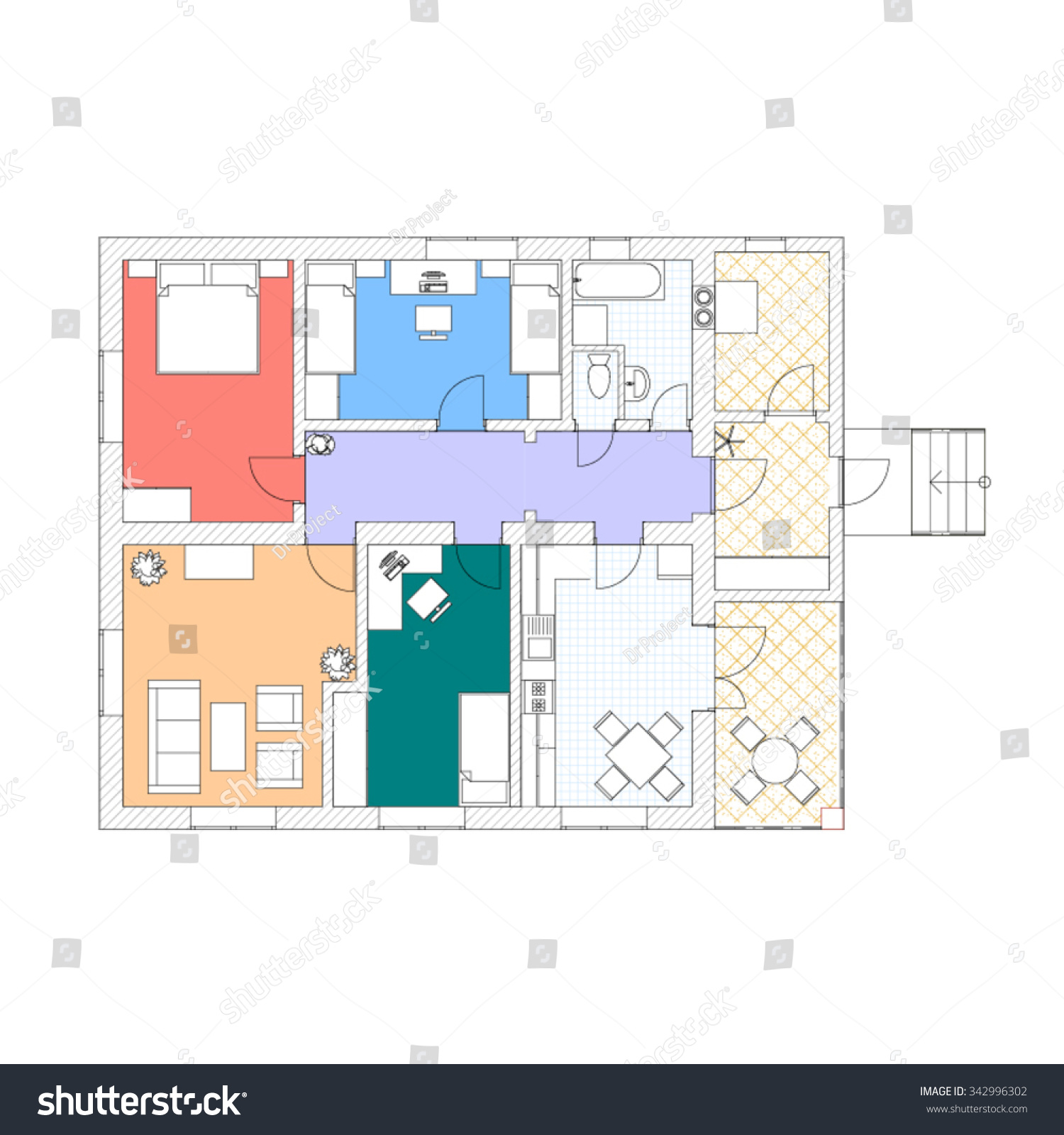 floor plan modern apartment 2d vector stock vector 342996302