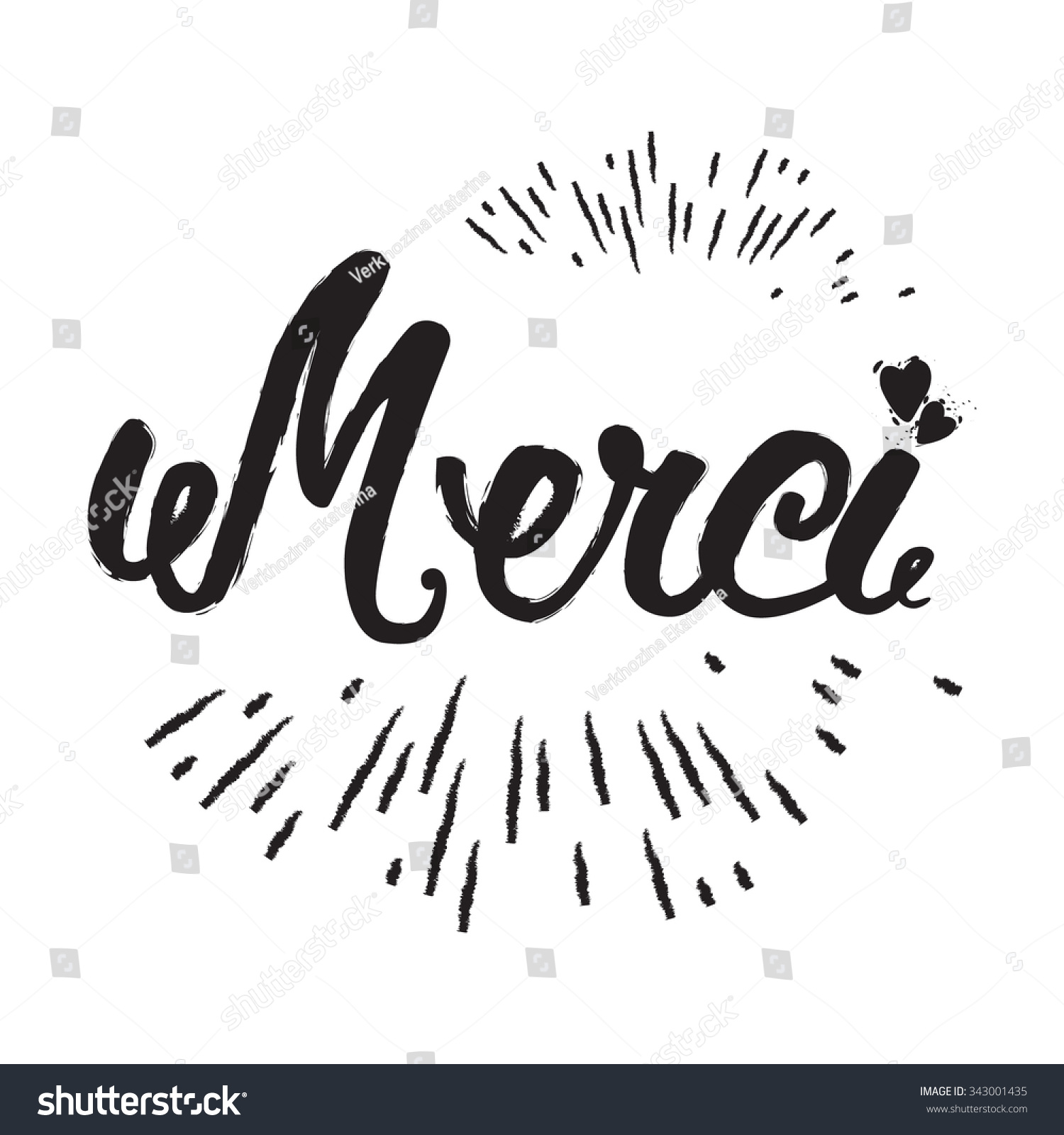 Merci hand lettering modern brush calligraphy stock vector