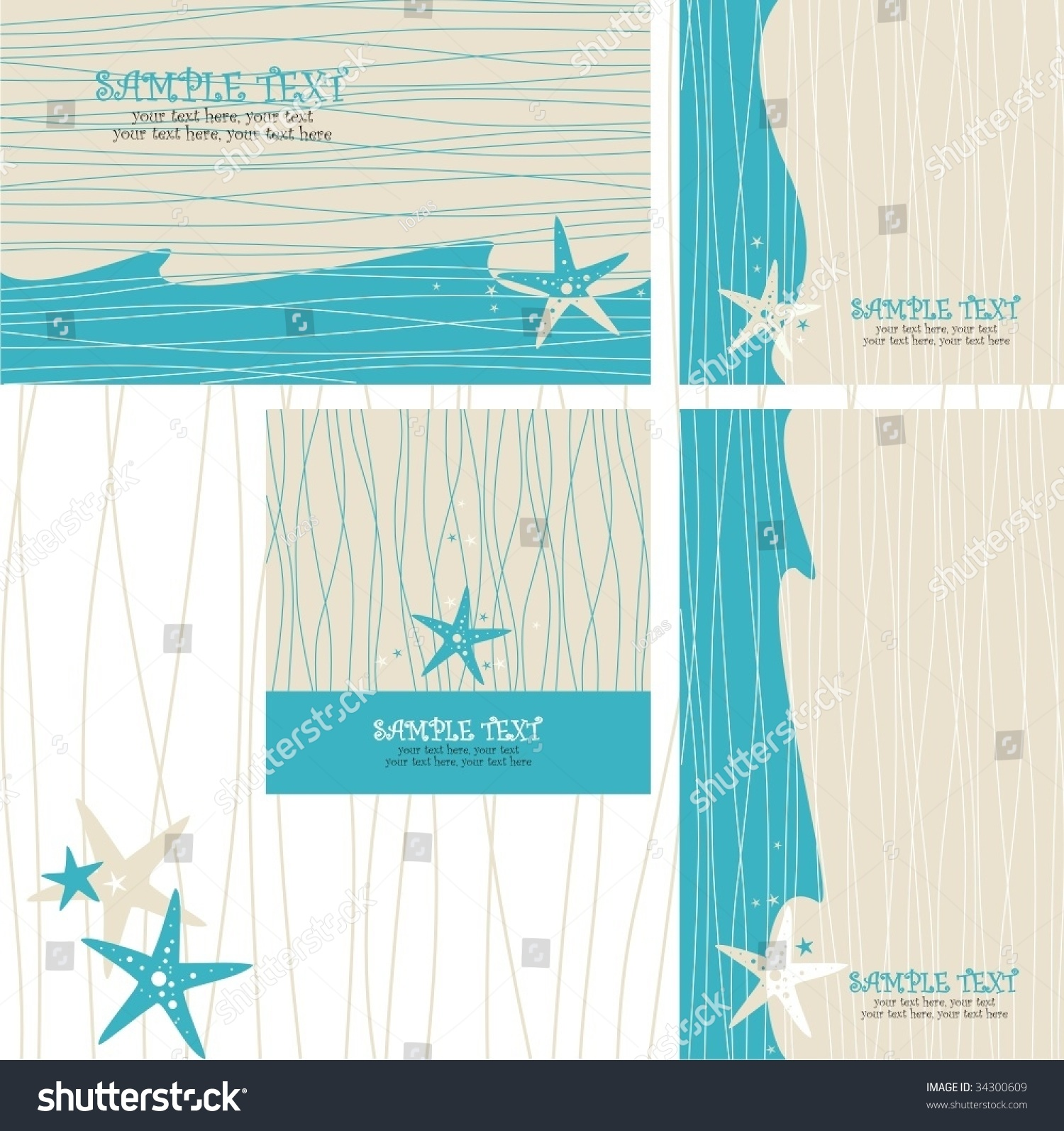Beach Theme Card Stock: Greeting Cards Set With Sea Star