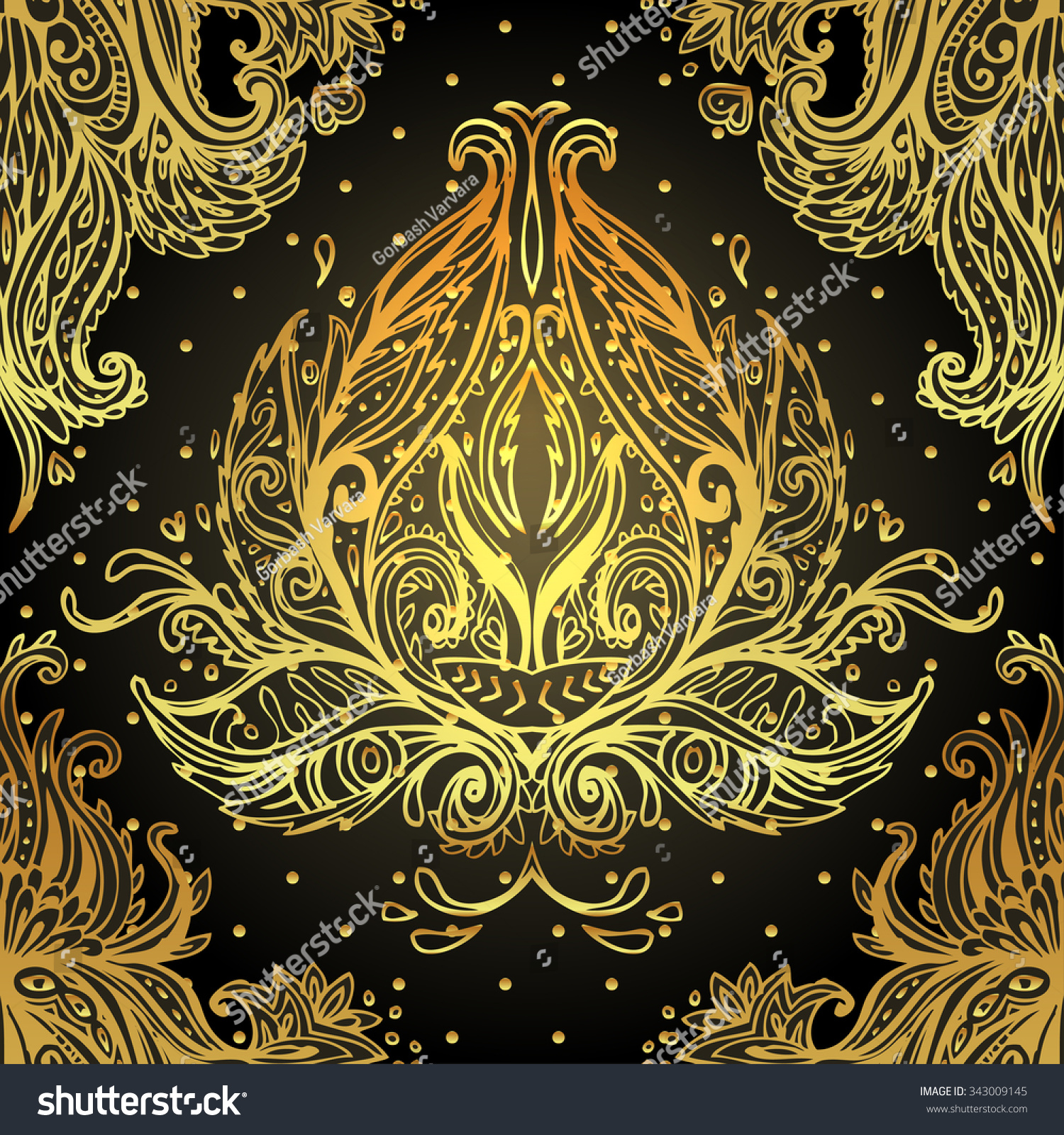 Vintage background ornate baroque pattern vector illustration stock - Seamless Vintage Vector Background Wallpaper Baroque Pattern For Textile Design In Gold Ornate