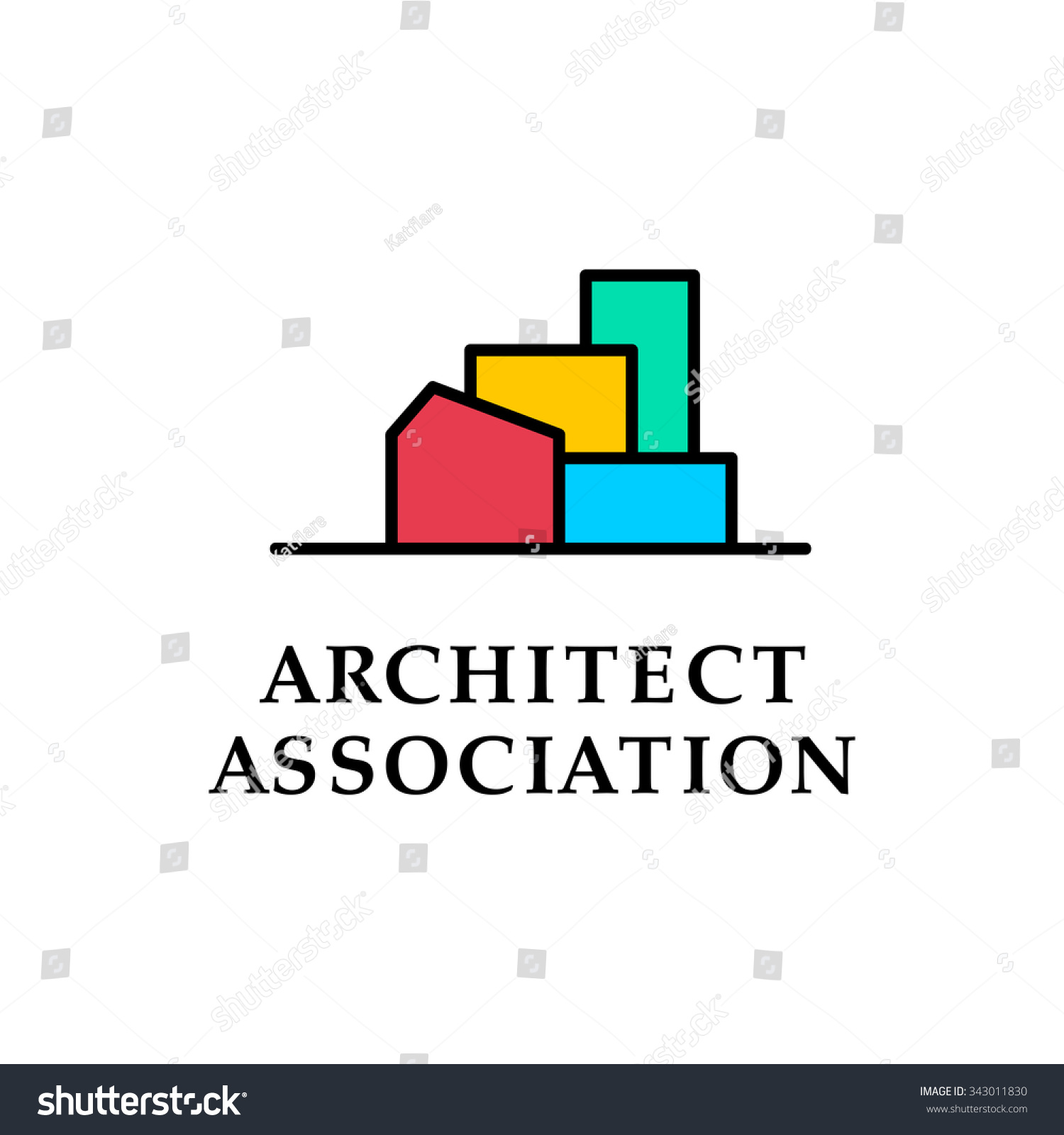 Flat Architecture Company Logo Collection Design Stock