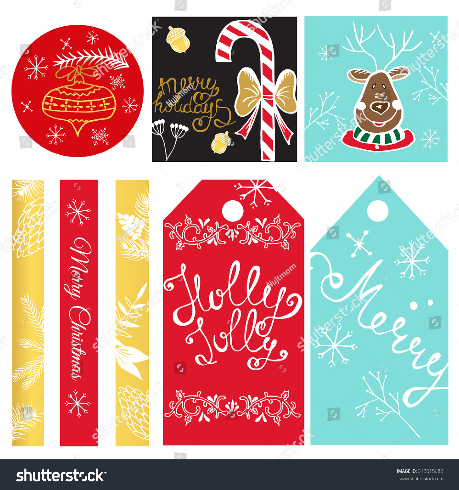 christmas gift tags labels christmas stickers stock vector royalty