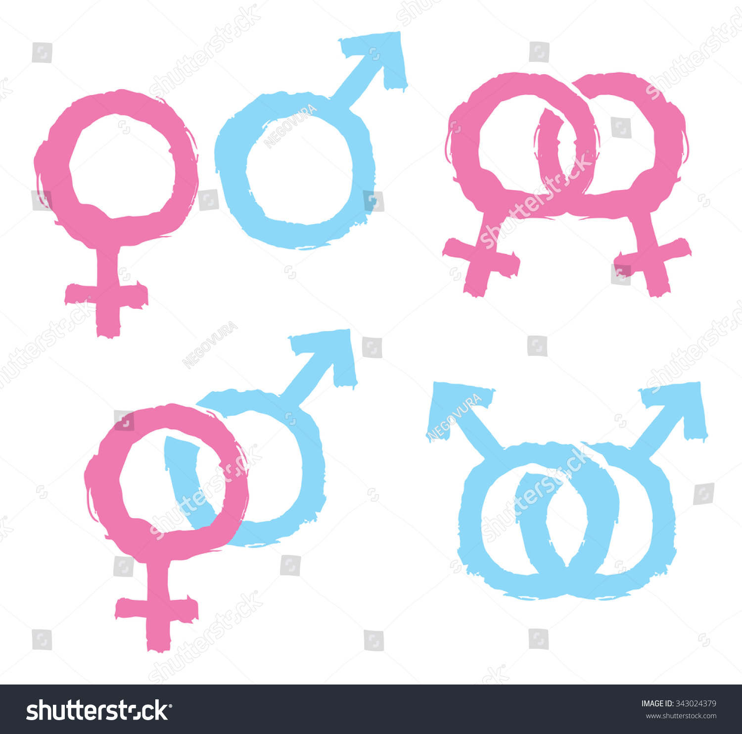 Male Female Gender Symbols Combination Stock Vector Royalty Free