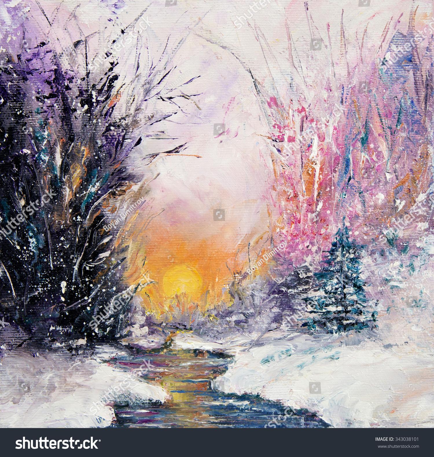 Original Abstract Oil Painting Beautiful Winter Stock Illustration 343038101 ...