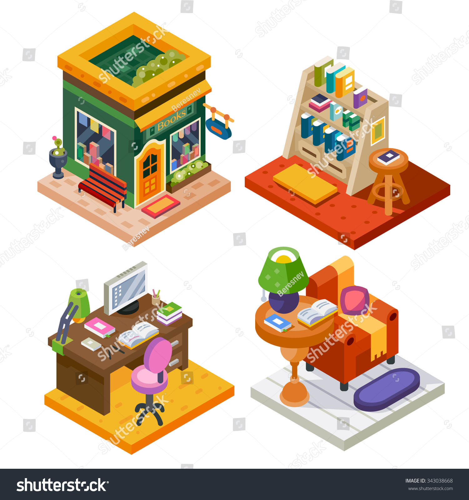 isometric book set book store stock vector