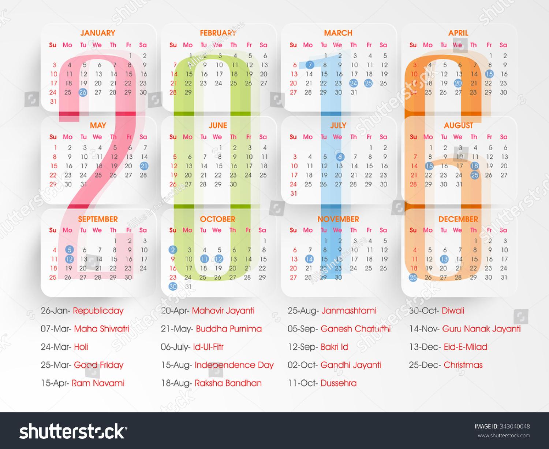 Calendar List Design : Stylish yearly calendar design holidays stock vector