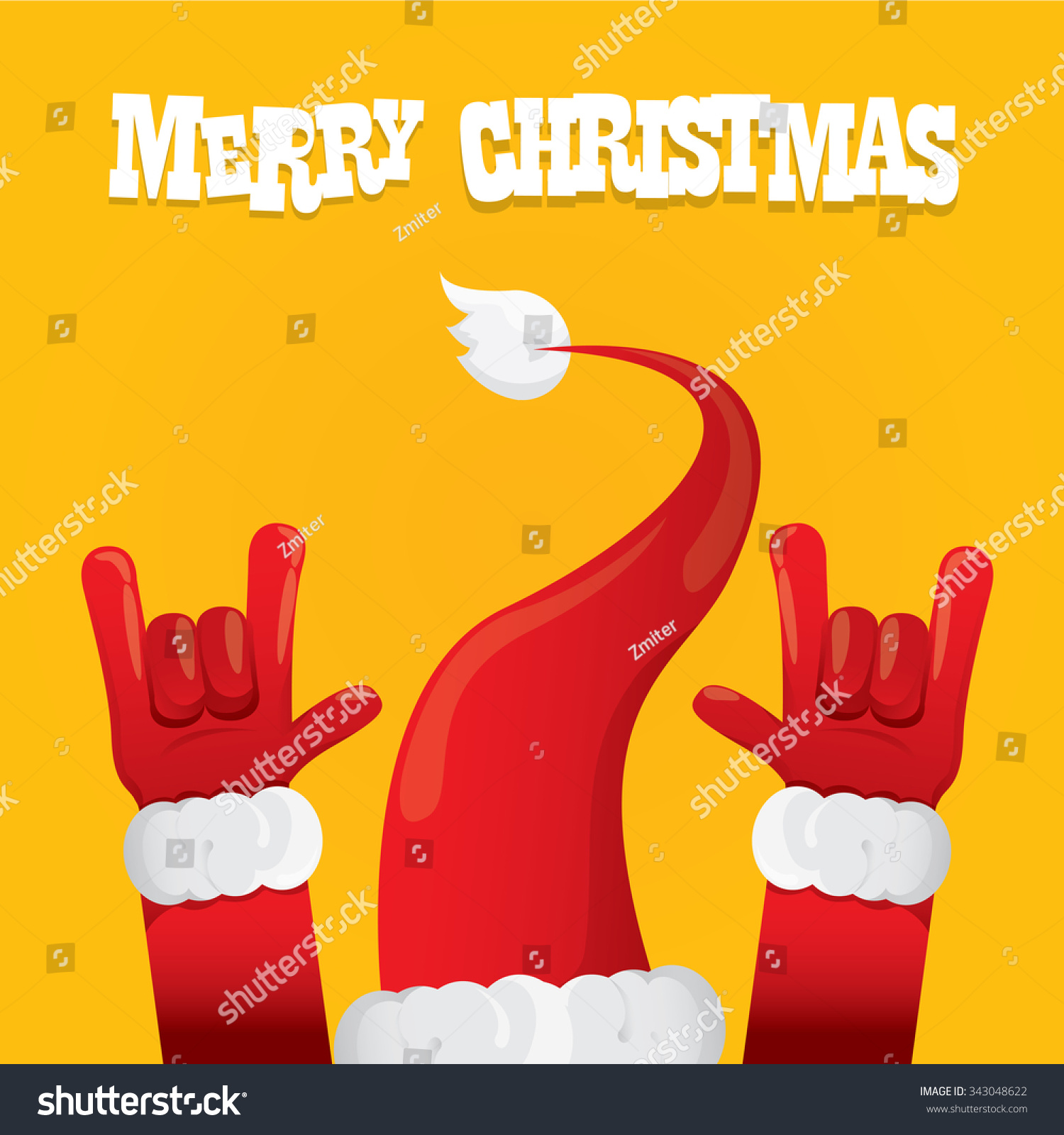 Rock n roll poster design - Santa Claus Hand Rock N Roll Icon Vector Illustration Christmas Rock Concert Poster Design Template