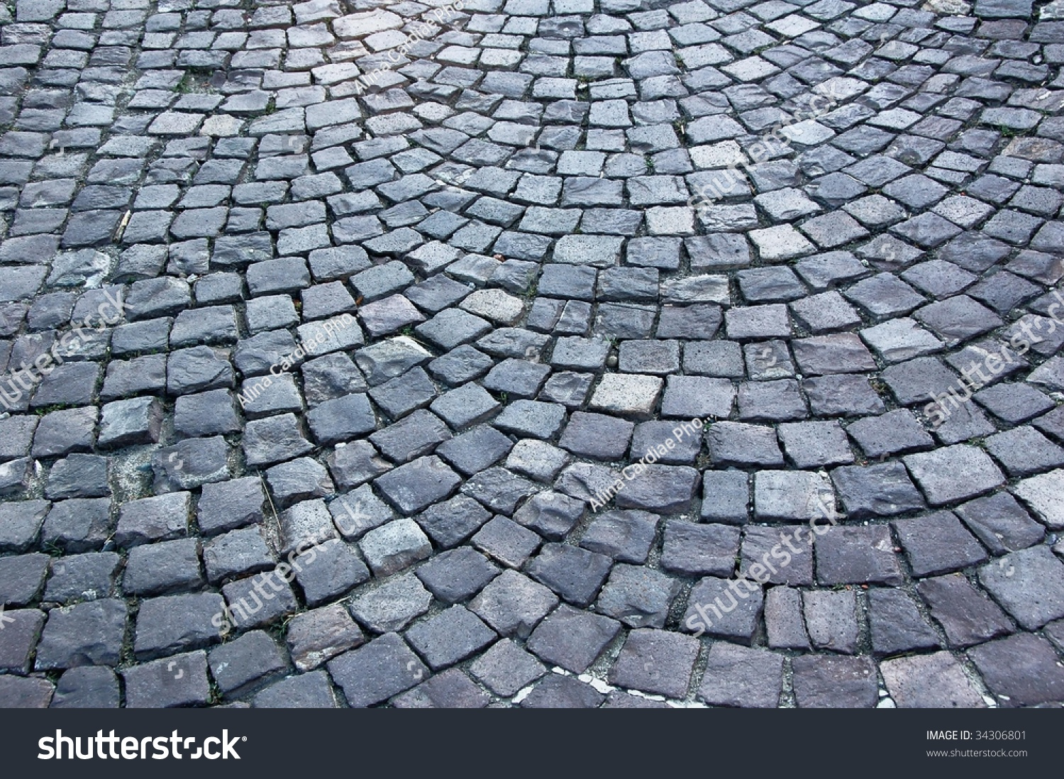 Cobblestone Pavement Paving Stock Photo 34306801
