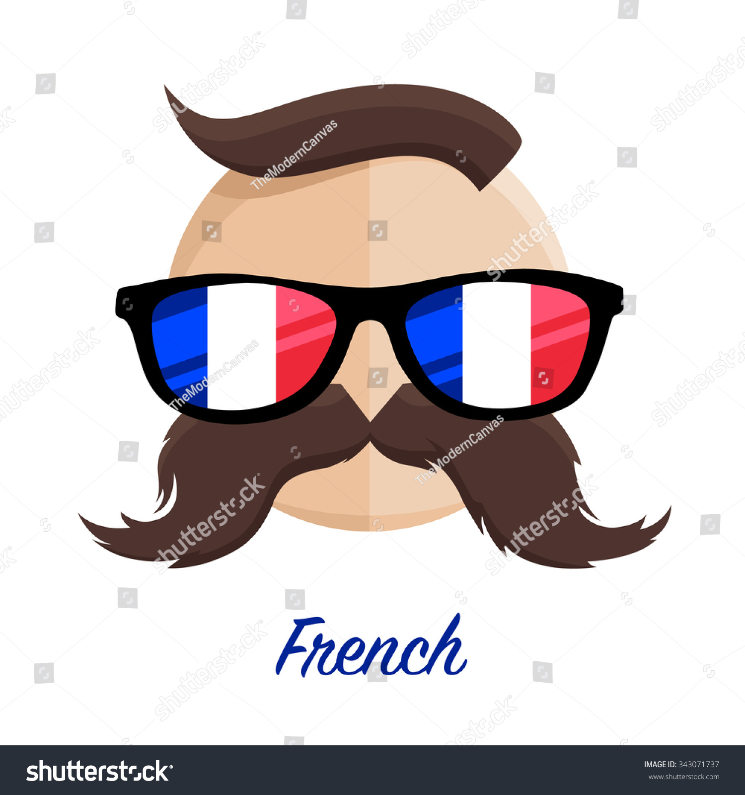 French Hipster Man Flag Glasses Mustache Stock Vector Royalty Free
