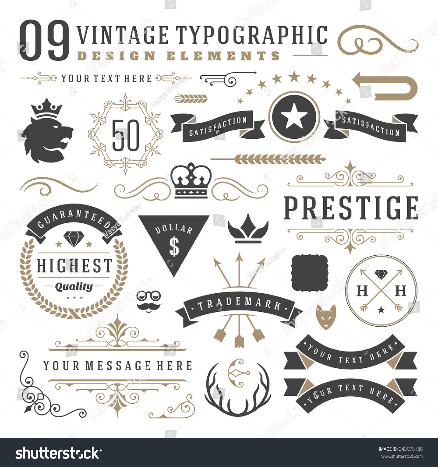 Retro Vintage Typographic Design Elements Arrows Stock Vector 343073186 - Shutterstock