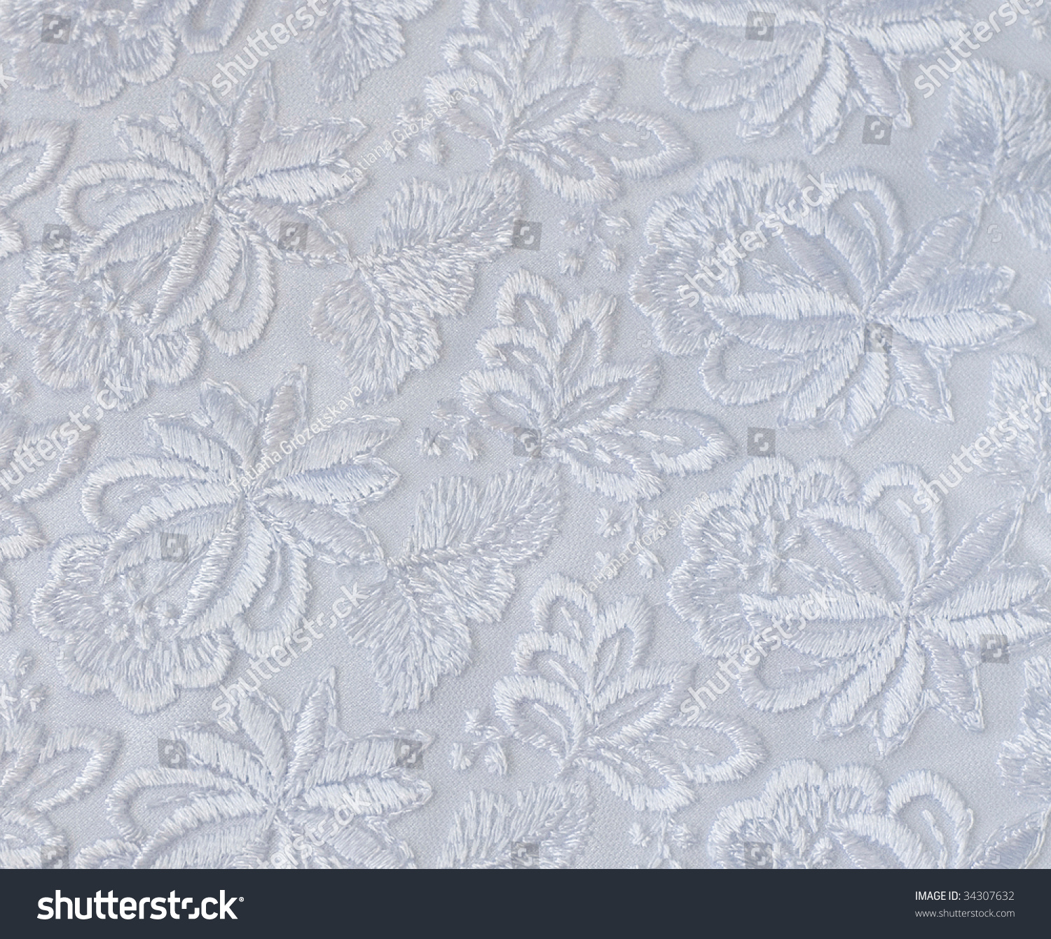 White Guipure Embroidery On Cloth Wedding Stock Photo (Download Now ...