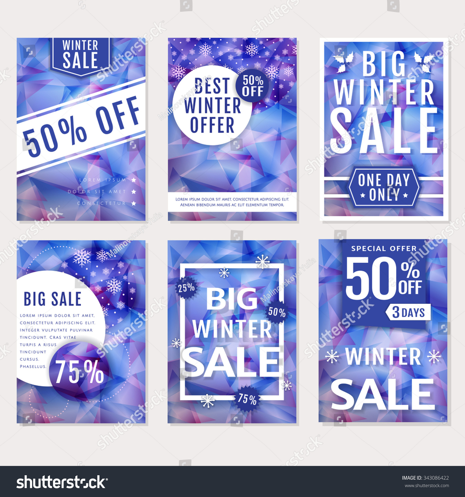 winter s discounts set seasonal advertising stock vector winter s and discounts set of seasonal advertising banners flyers or posters templates