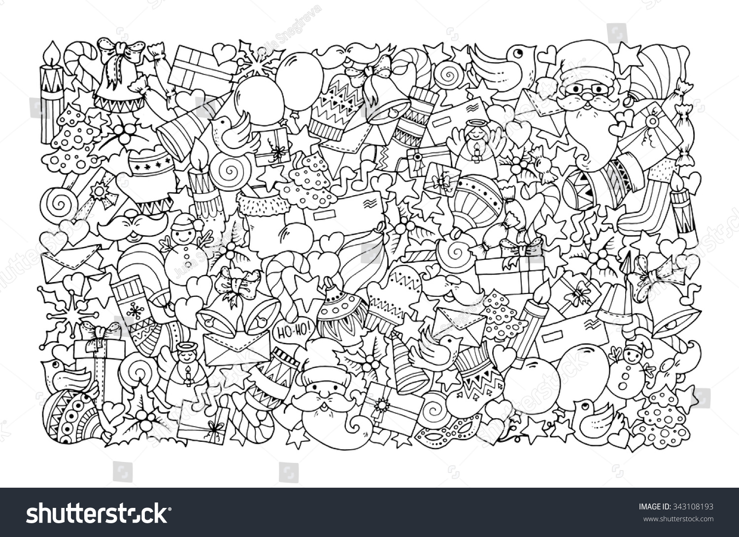 Christmas Theme Doodle Background Balloon Bells Stock Vector ...