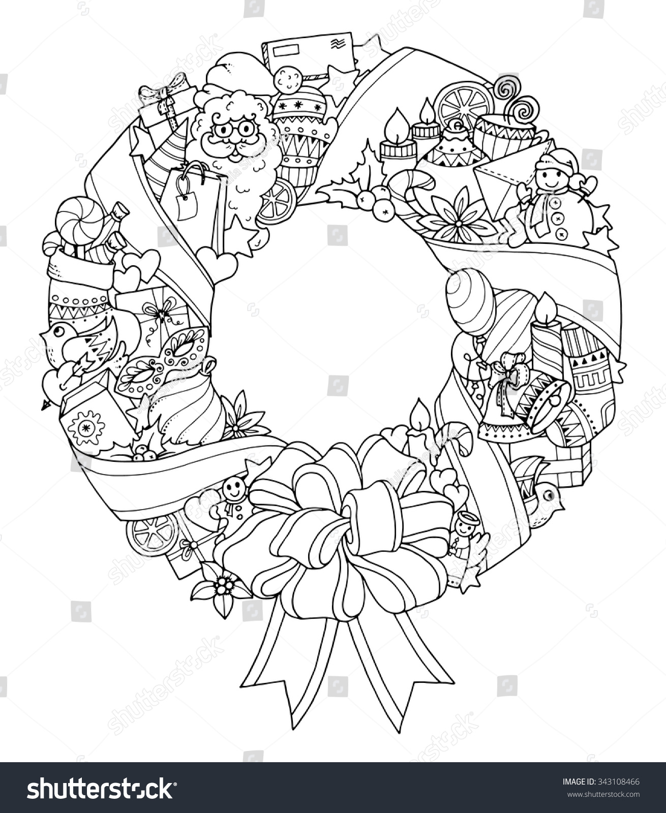 Christmas wreath Doodle pattern with balloons bells sweets Christmas socks gifts mittens envelope letter tree stars candle bird snowman ball bow heart and Santa Claus
