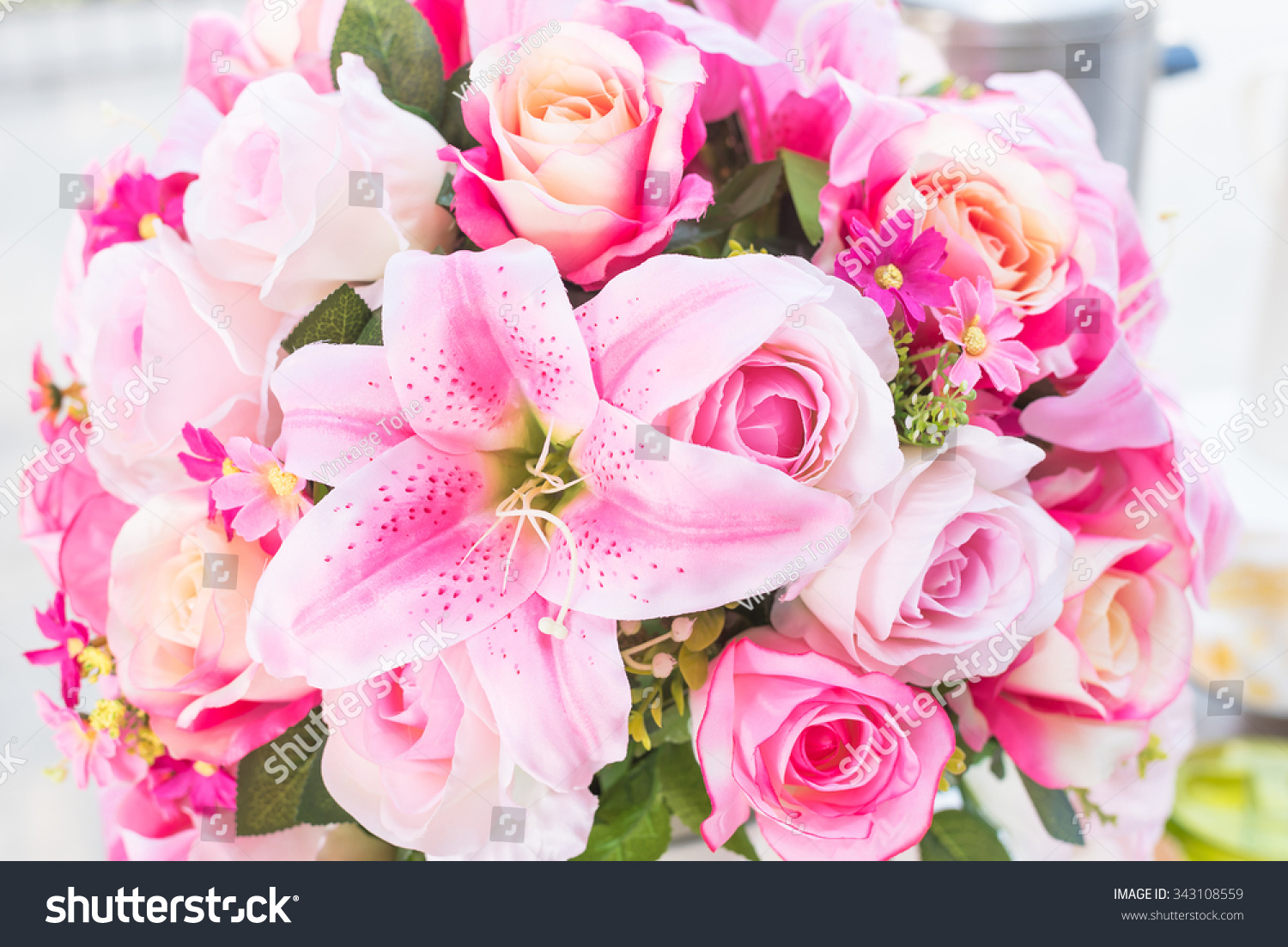 Beautiful flowers bouquet roses on wood stock photo edit now beautiful flowers bouquet of roses on wood background useful as valentine card colorful flowers and izmirmasajfo