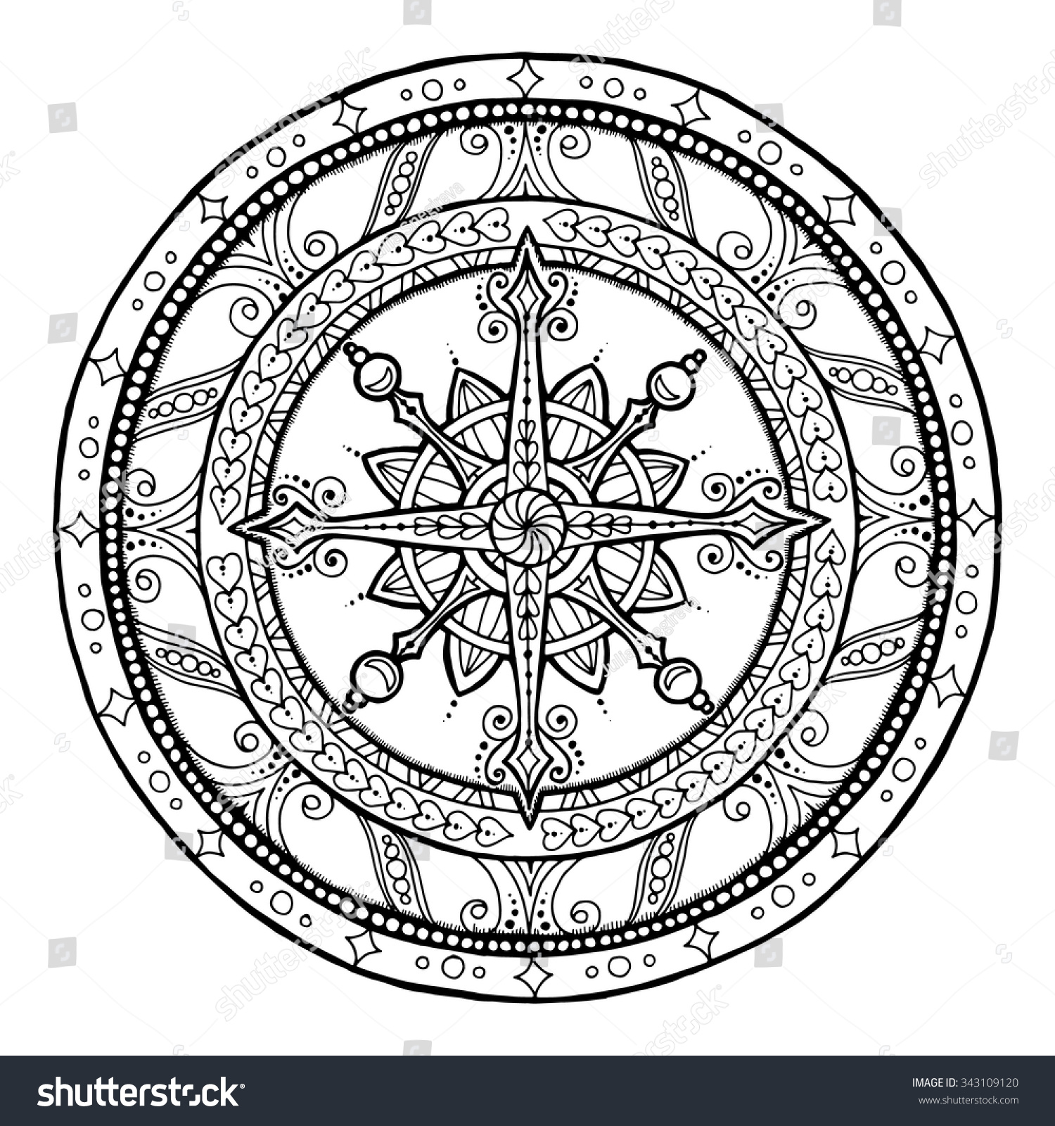 Coloring book snowflake - Doodle Snowflake On Ethnic Circle Ornament Hand Drawn Art Winter Mandala