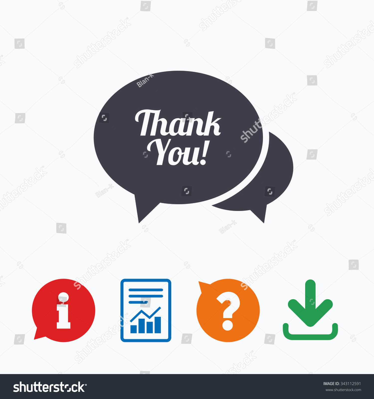 Speech bubble thank you sign icon stock vector 343112591 speech bubble thank you sign icon customer service symbol information think bubble question biocorpaavc Image collections