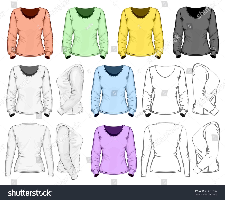 Womens Long Sleeve Tshirt Design Template Stock Vector Royalty Free