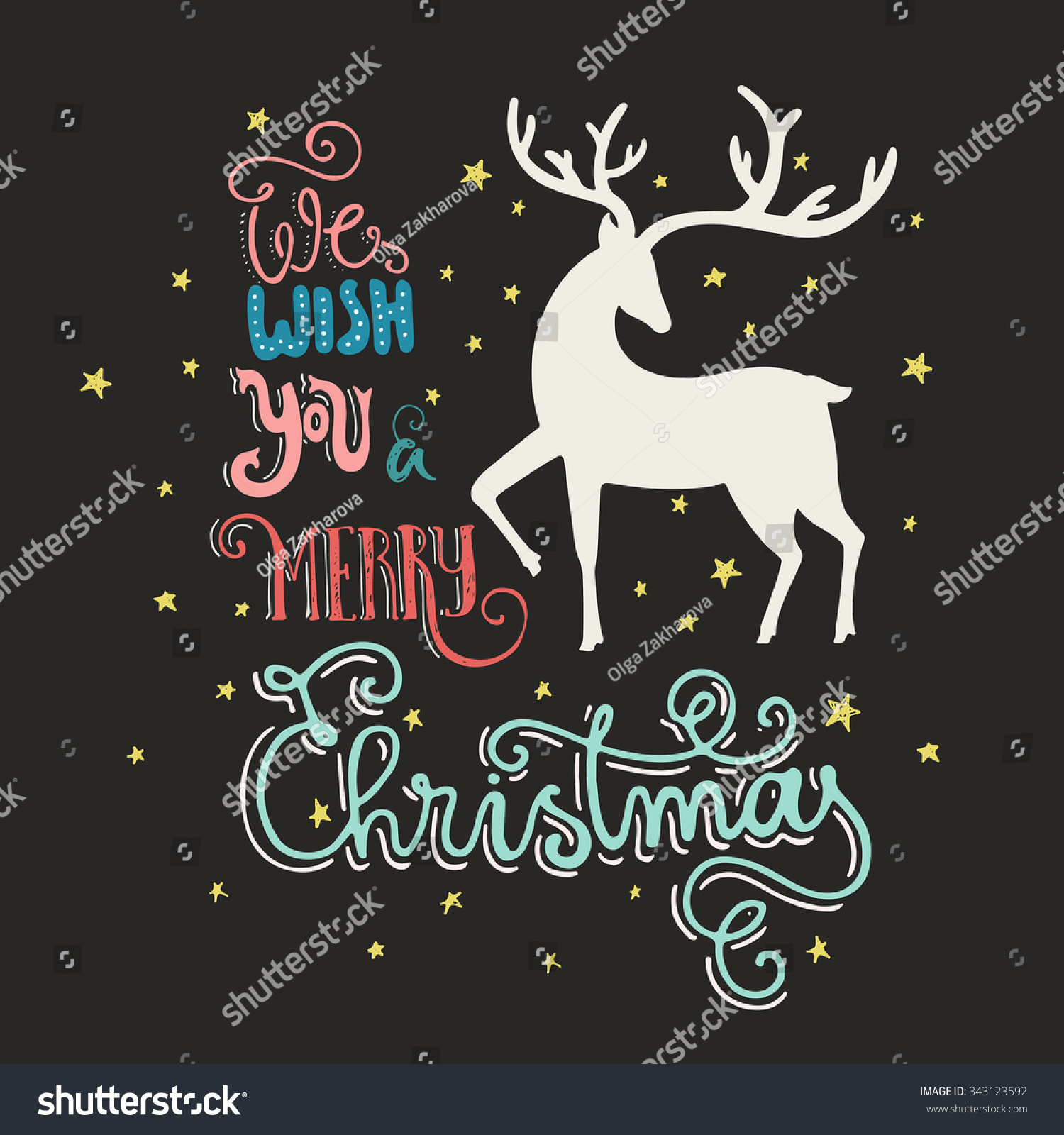 Unique Christmas Card Handdrawn Lettering Silhouette Stock Vector ...