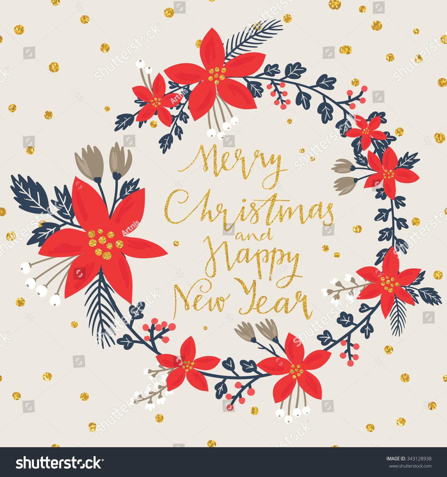 Christmas Greeting Card Stylish Poinsettia Flower Stock Vector