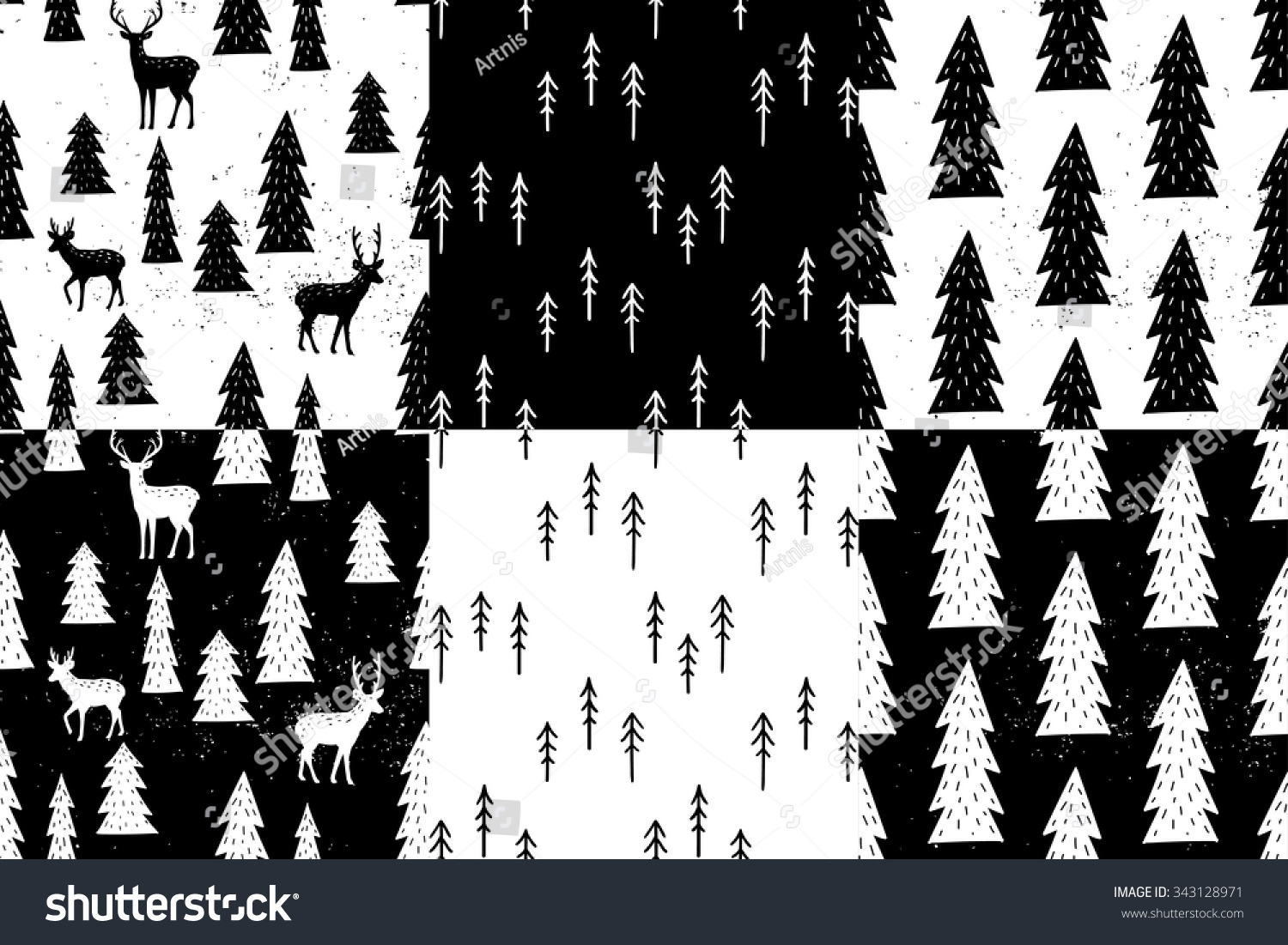 Seamless fir tree scandinavian pattern textile background wrapping - Seamless Hand Drawn Winter Pattern Set Vector Forest Hand Drawn Background For Design And