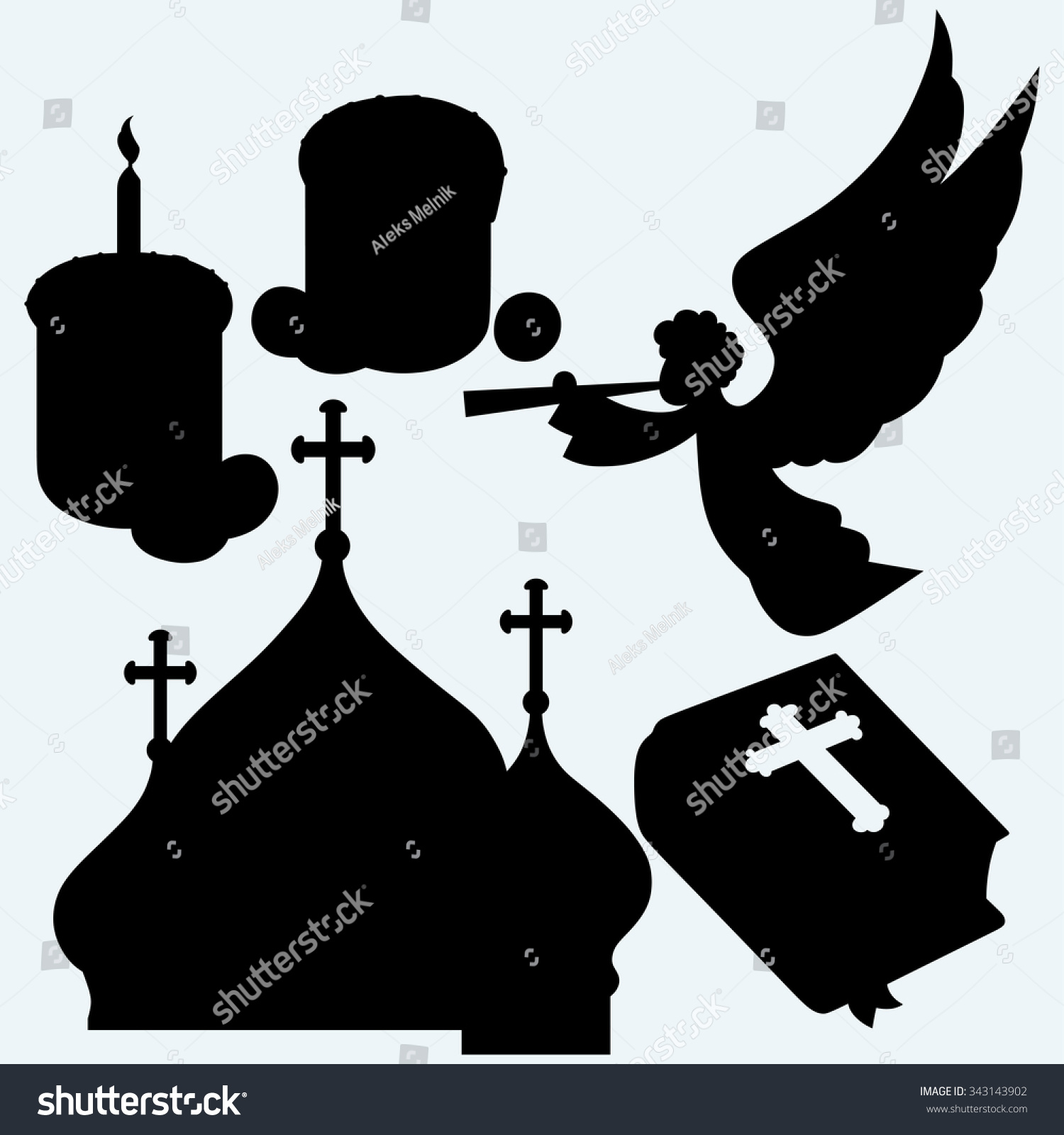 Set religious symbols angel trumpet bible stock vector 343143902 set of religious symbols angel with trumpet bible bulbous domes of orthodox cathedral biocorpaavc Image collections