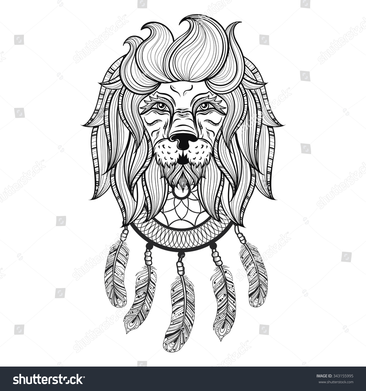 vector ornamental lion with dreamcatcher ethnic patterned head hand drawn bohemian tattoo. Black Bedroom Furniture Sets. Home Design Ideas