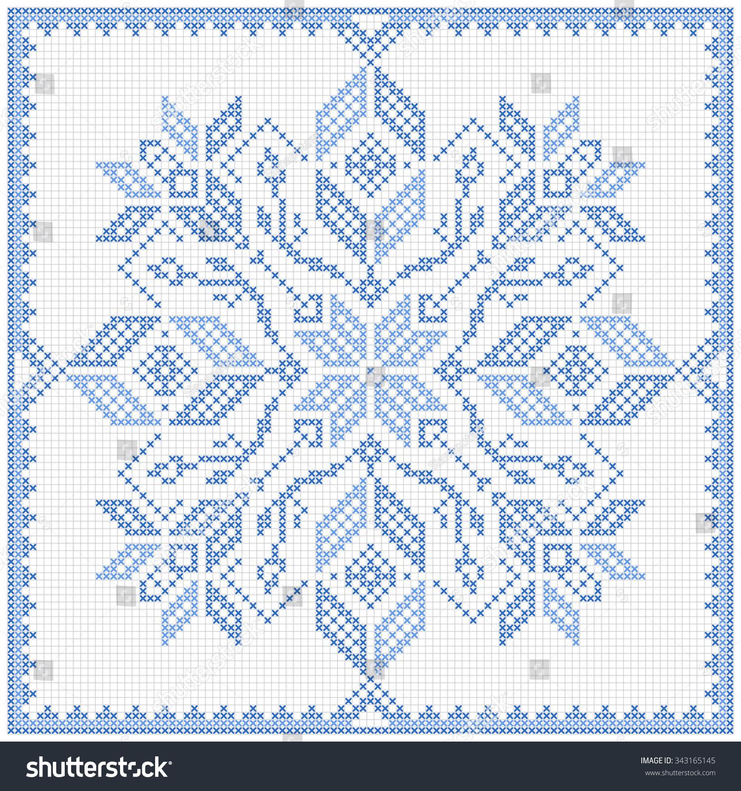 Royalty Free Scandinavian Style Cross Stitch Pattern 343165145