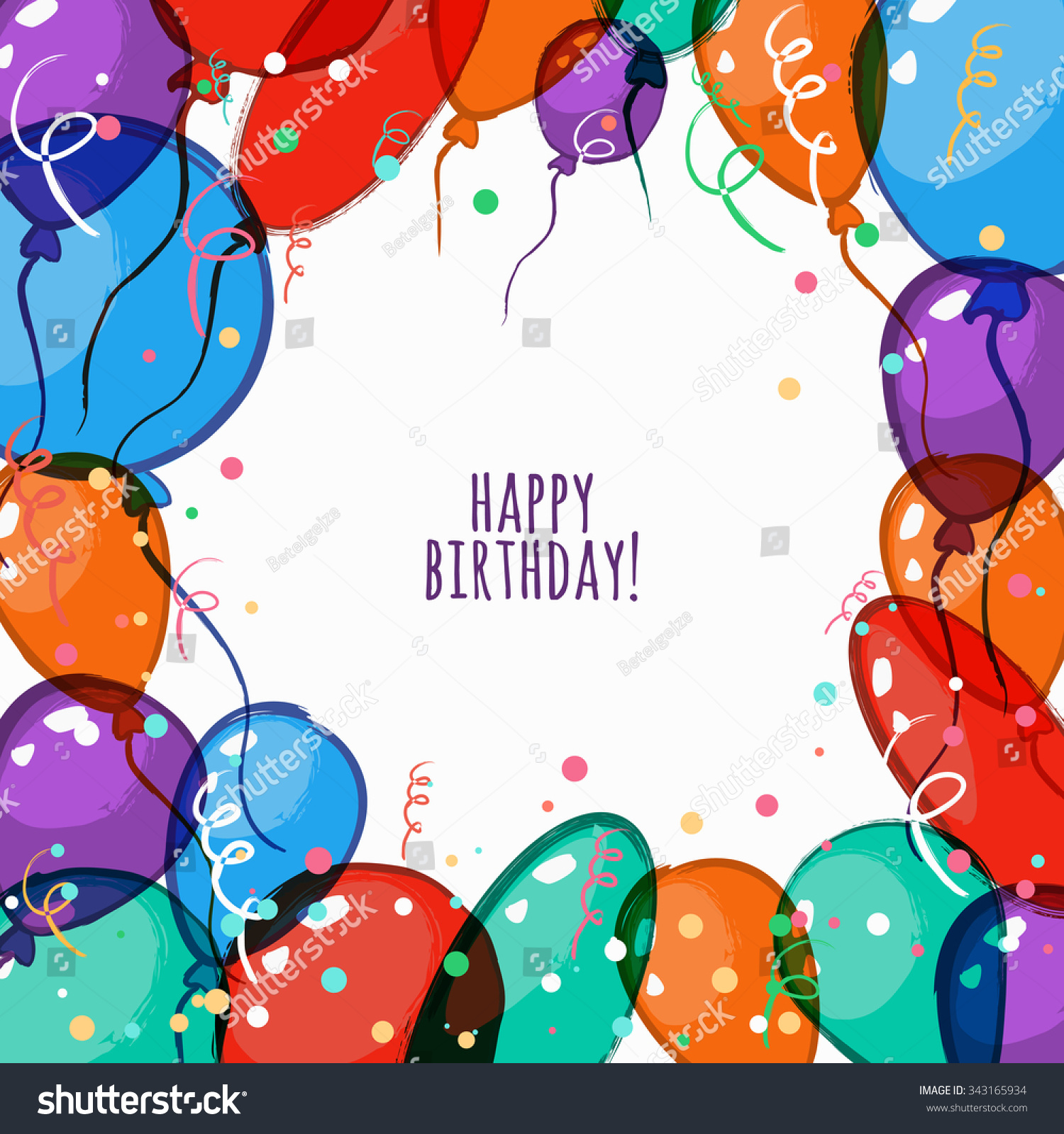 Vector Birthday Card Colorful Frame Air Vector 343165934 – Vector Birthday Card