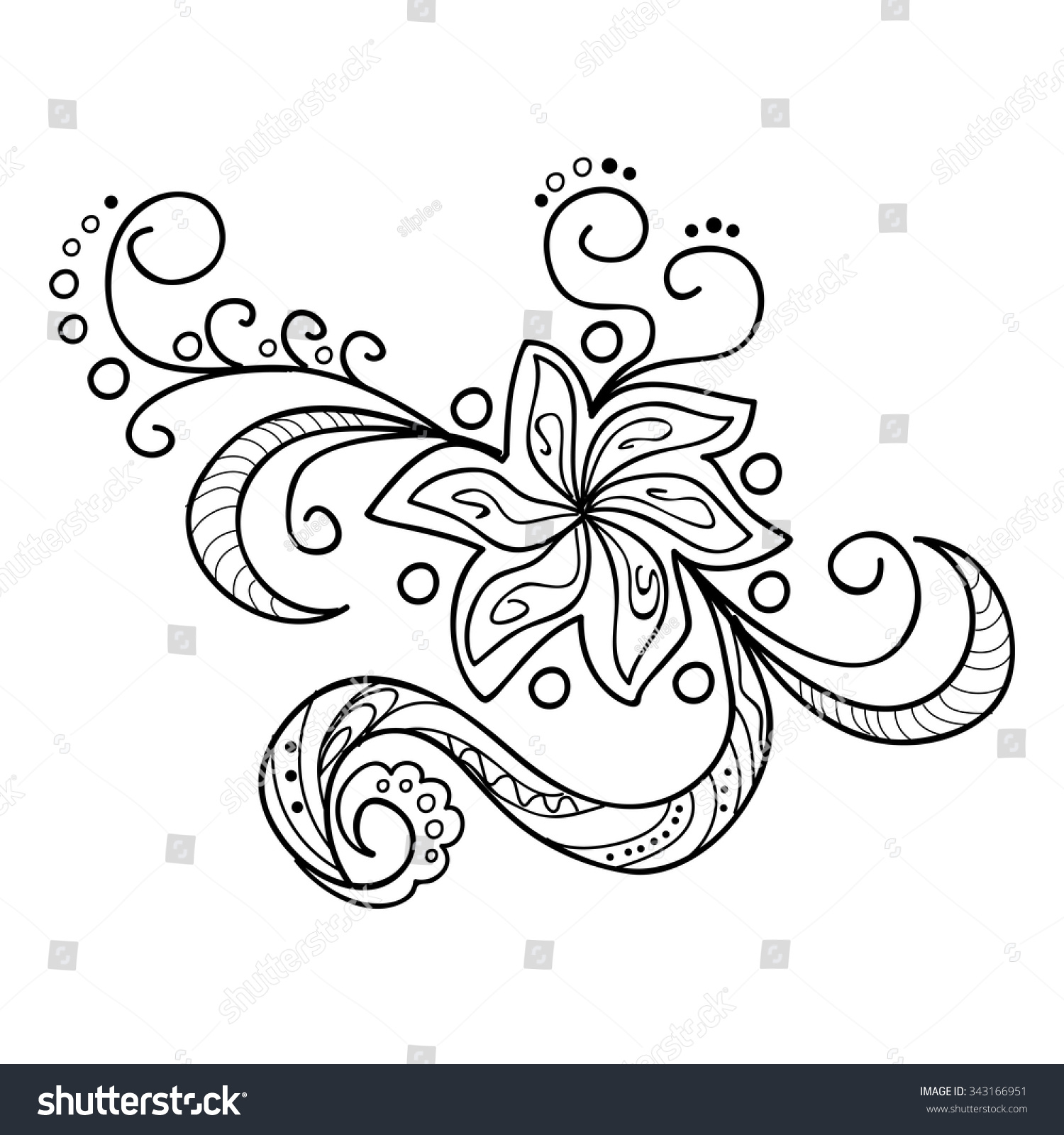 hand drawn decorated image flower henna stock vector 343166951