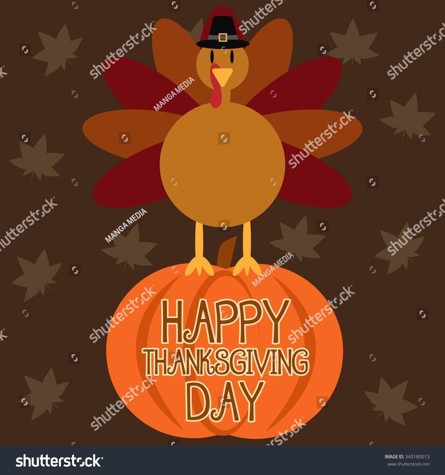 Turkey Cartoon On Pumpkin Thanksgiving Banner Stock Vector ...