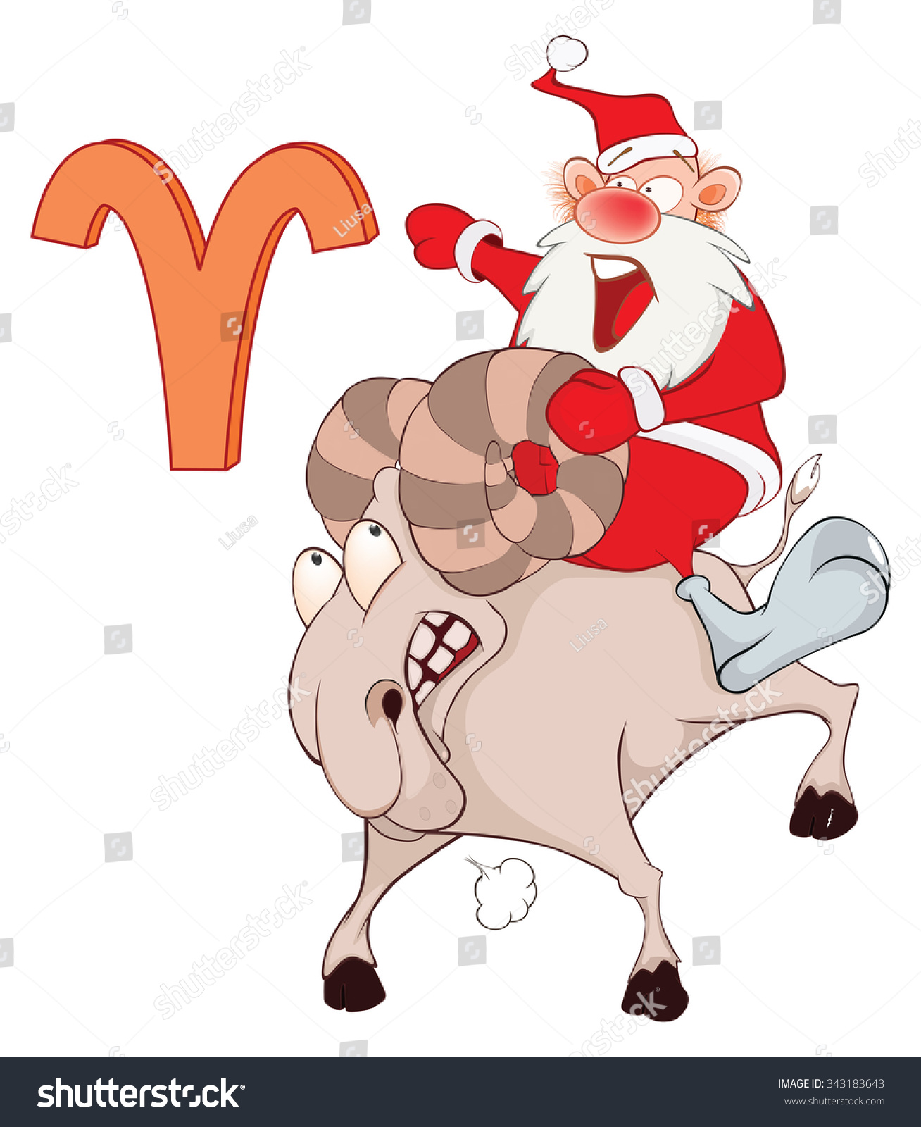 Illustration Of A Cute Santa Claus. Astrological Sign In The ...