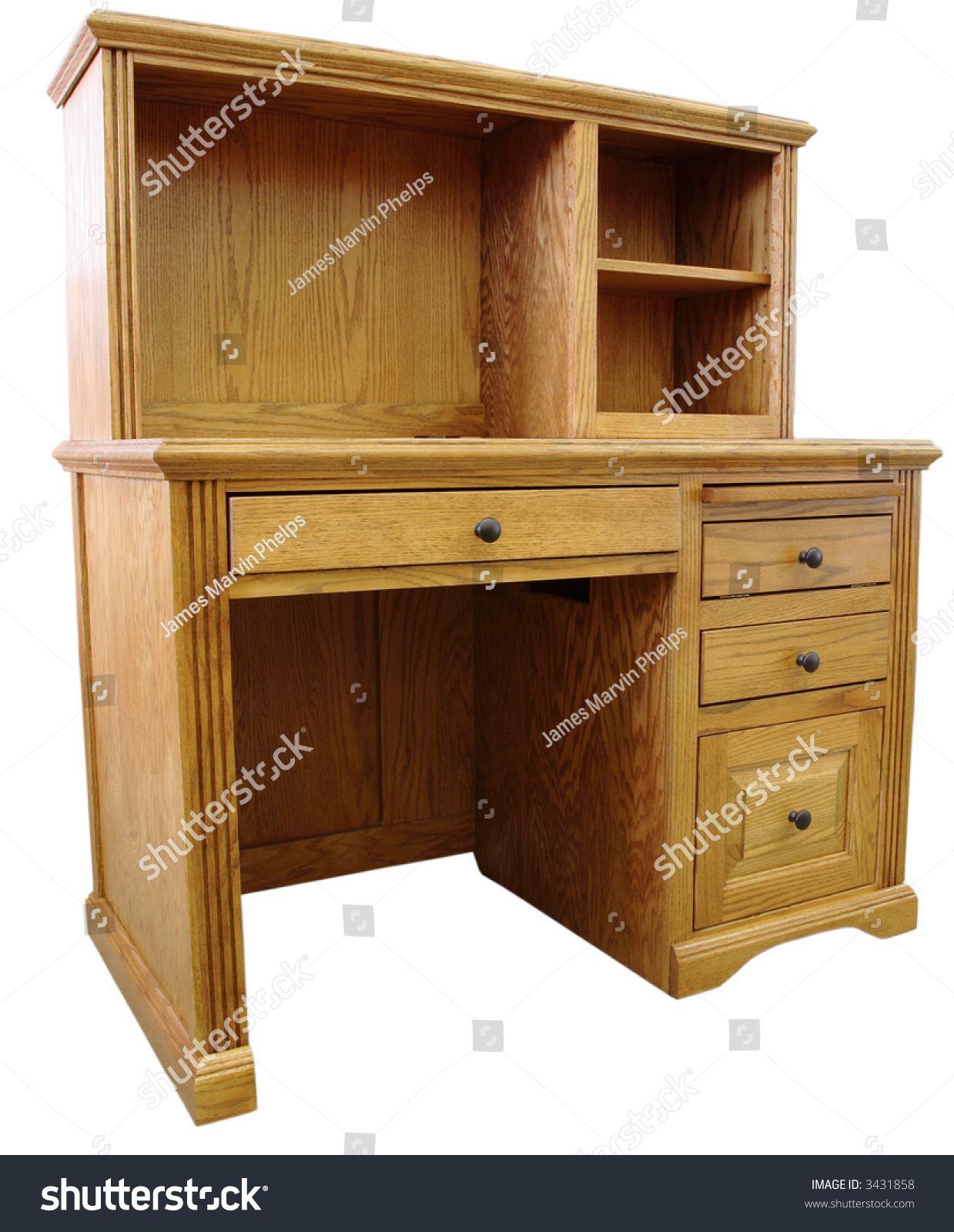 home office computer desk and hutch in honey oak finish