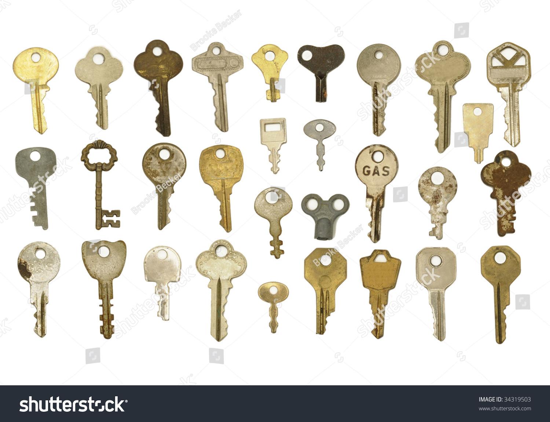 Group Keys Isolated On White Background Stock Photo 34319503 ...