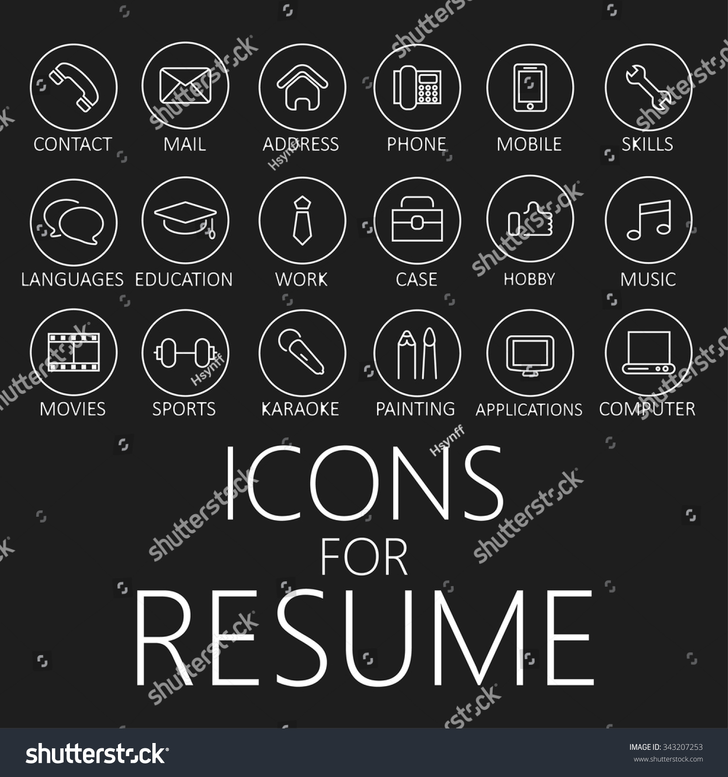 set line icons your resume cv stock vector 343207253 shutterstock set of line icons for your resume cv job