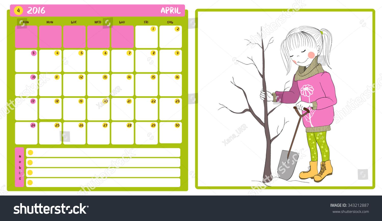April Calendar Girl : Kid calendar cute girl week stock vector