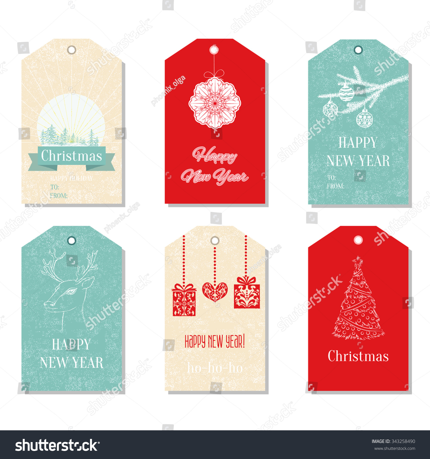 collection of cute ready to use 6 merry christmas and new year card templates