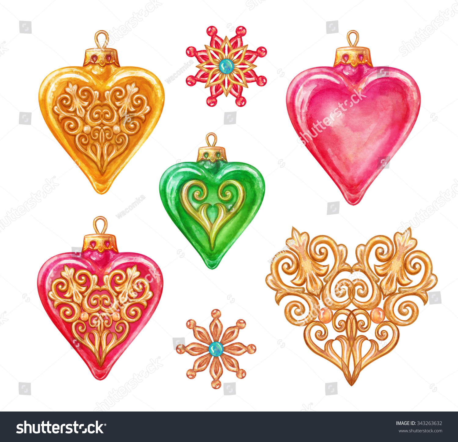 Glass heart christmas ornaments - Save To A Lightbox