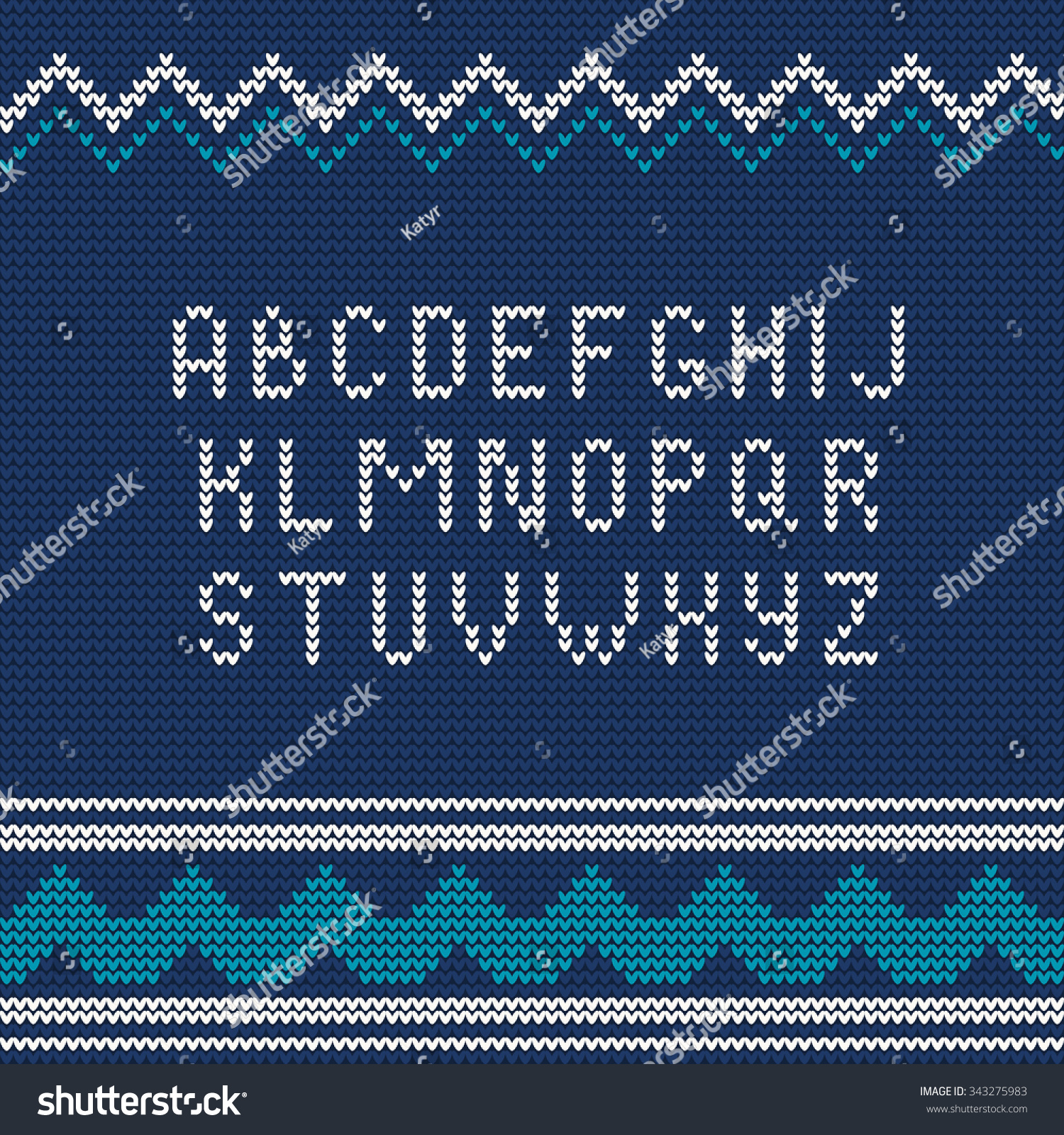 Knitting Letters Template : Vector illustration of christmas knitted font ugly sweater